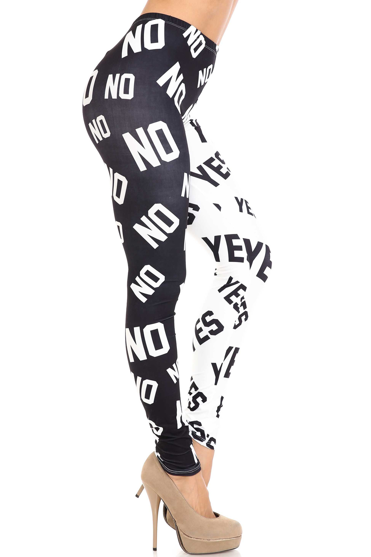 Creamy Soft Yes and No Plus Size Leggings - By USA Fashion™