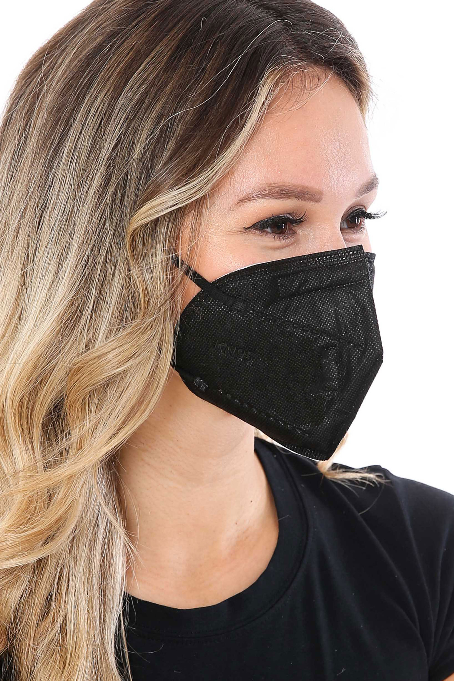 Right Side Image of Black KN95 Face Mask- Singles - Individually Wrapped