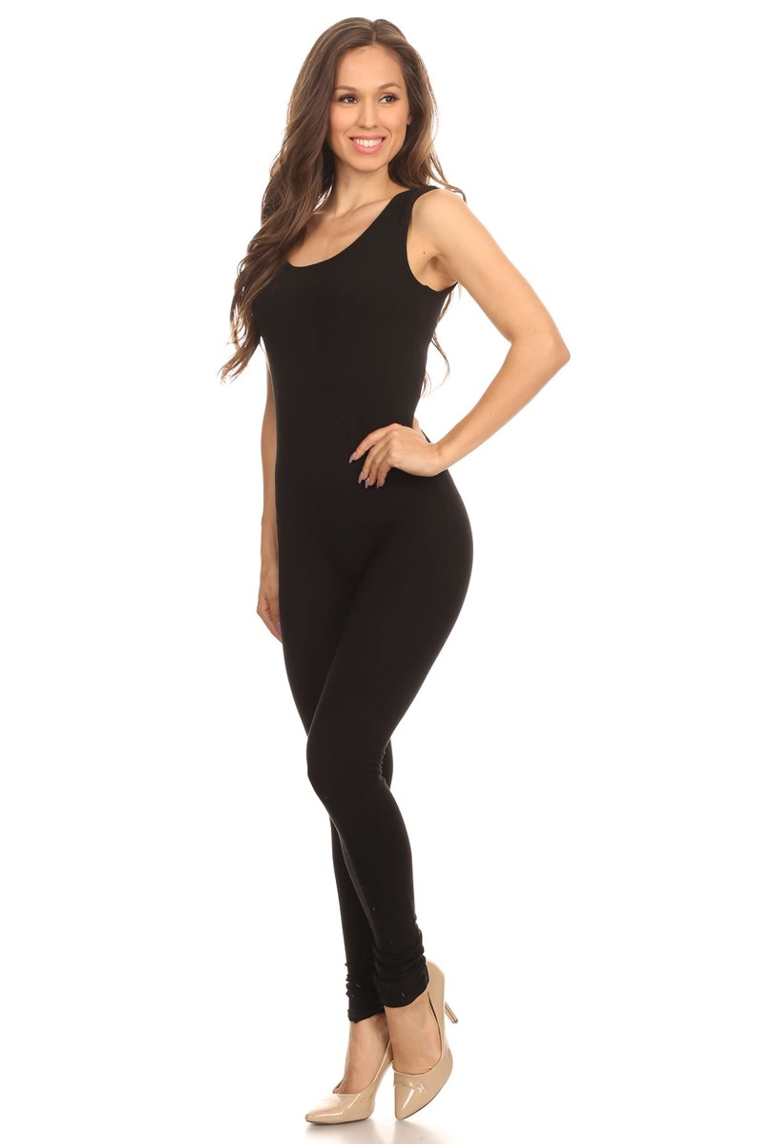 Left Side Image of Black USA Basic Cotton Jumpsuit
