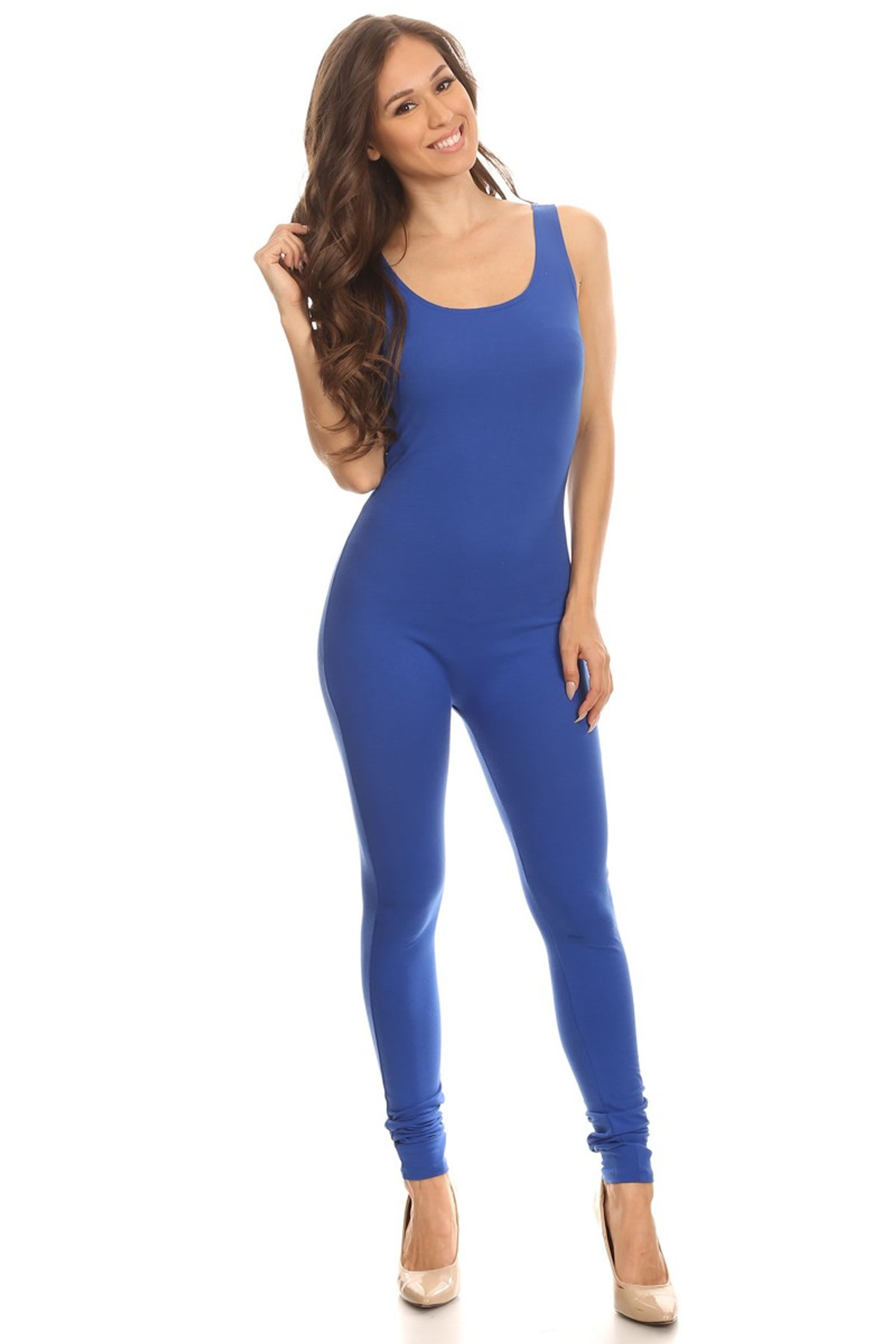 Front side image of Blue USA Cotton Basic Tank Jumpsuit