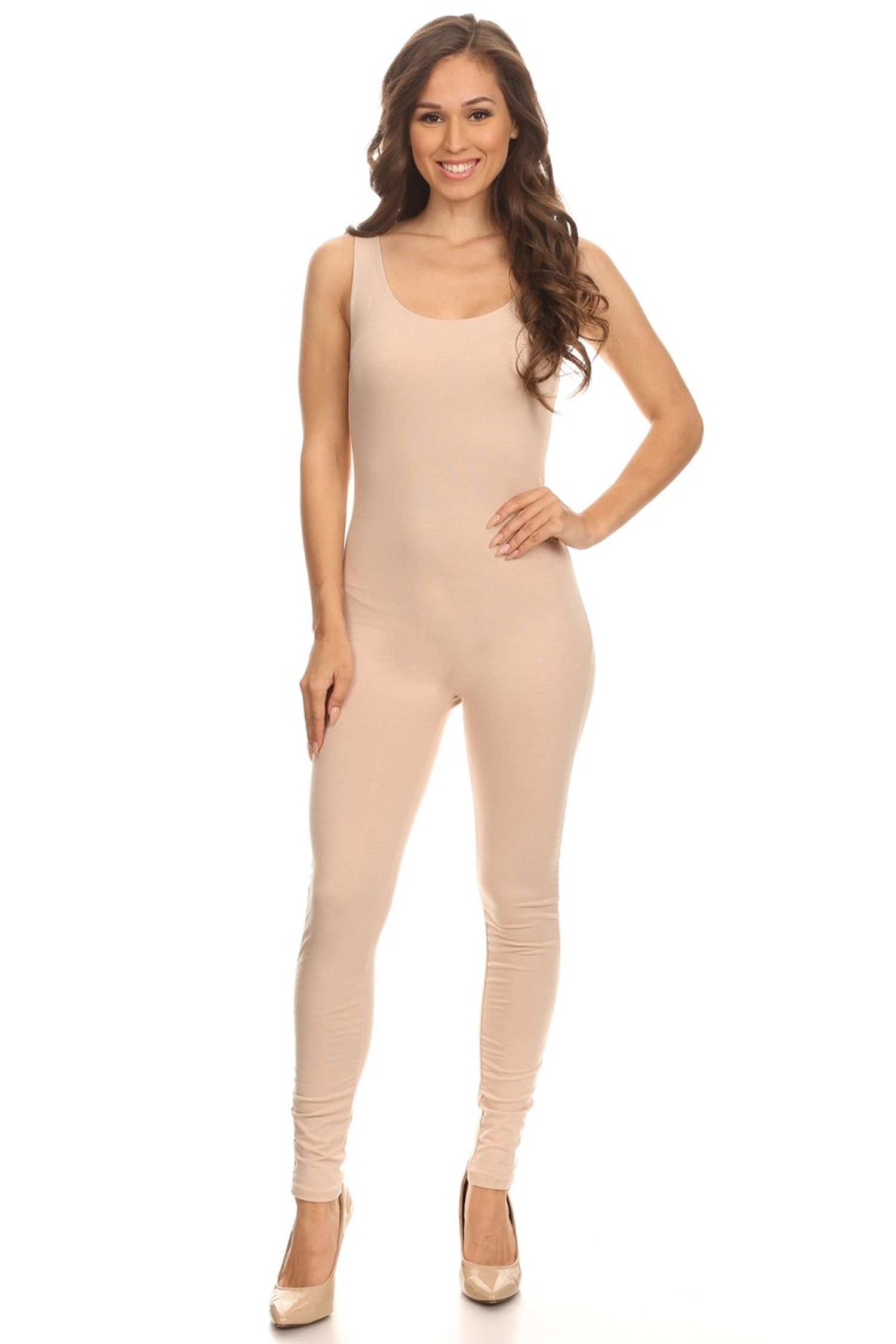 Front side image of Beige USA Cotton Basic Tank Jumpsuit