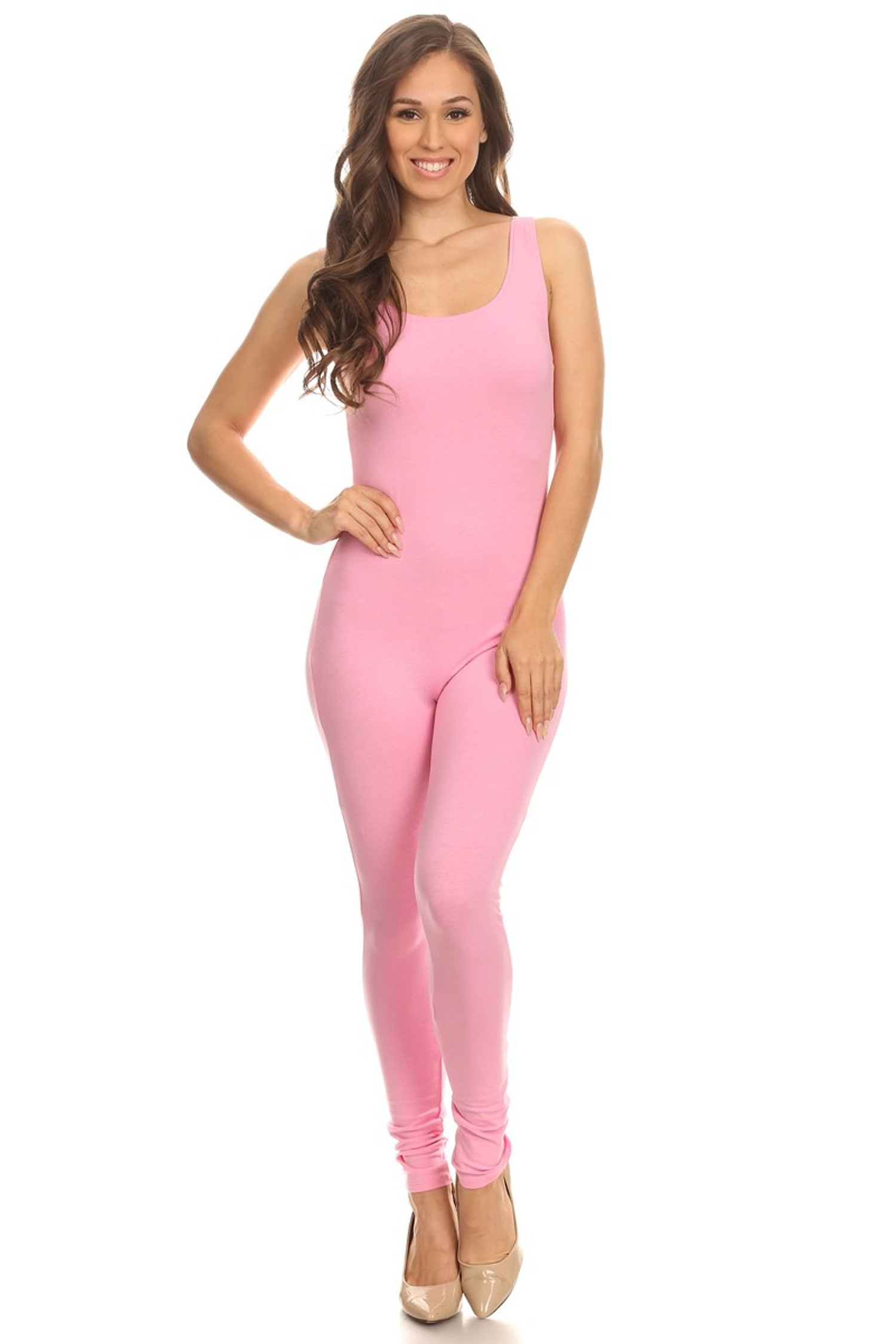 Front side image of Pink USA Cotton Basic Tank Jumpsuit