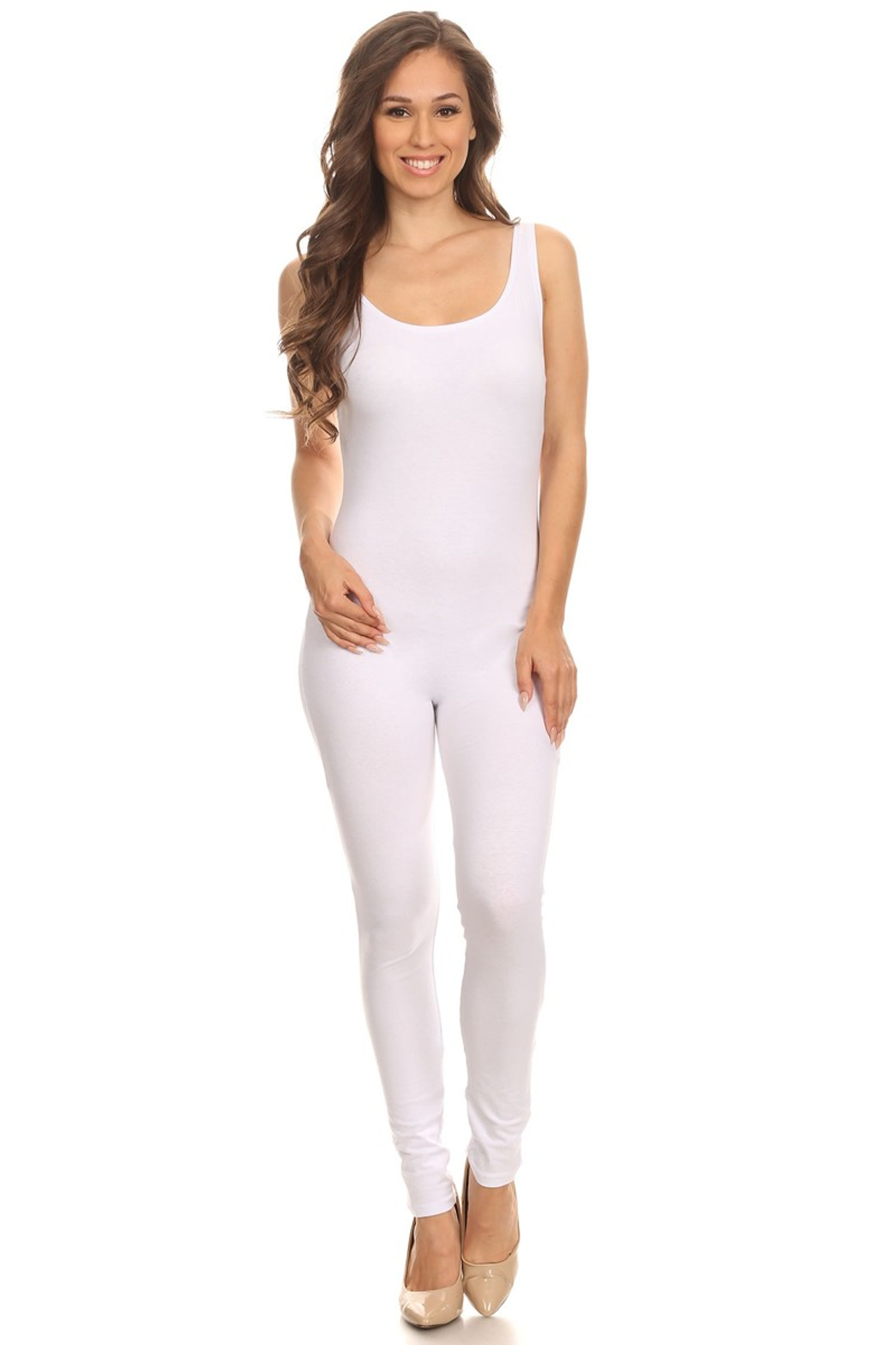 Front side image of White USA Cotton Basic Tank Jumpsuit