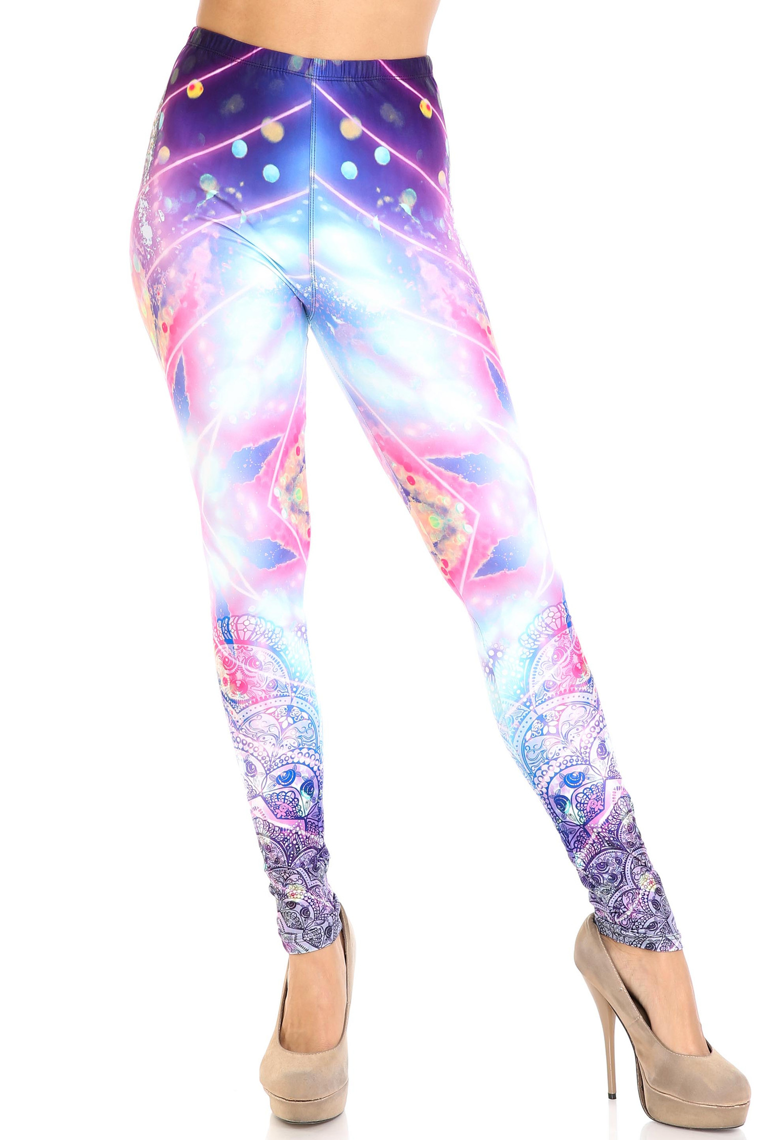 Creamy Soft Purple Mandala Lights Extra Plus Size Leggings - 3X-5X - By USA Fashion™