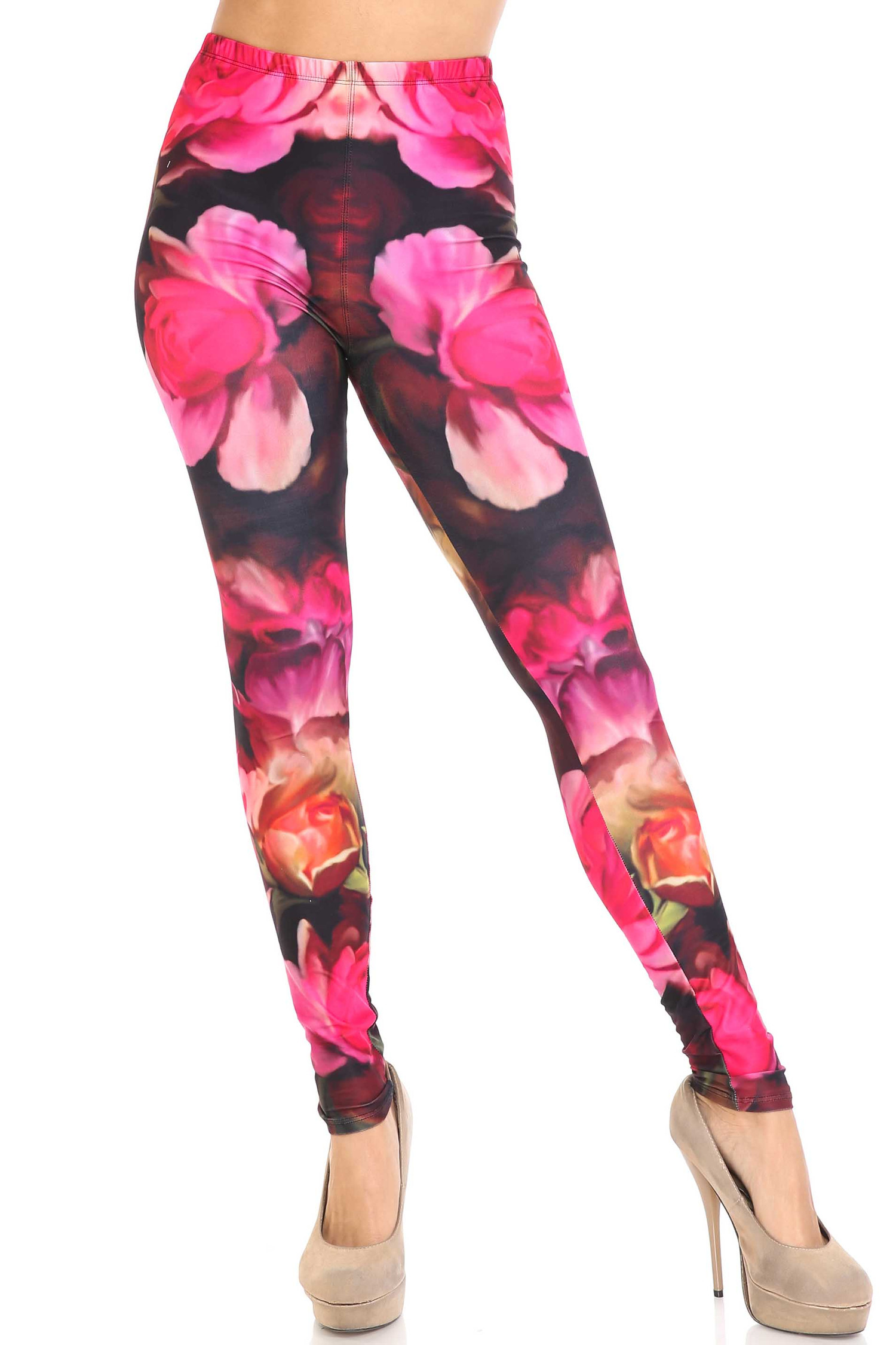 Creamy Soft Vintage Rose Extra Plus Size Leggings - 3X-5X - USA Fashion™