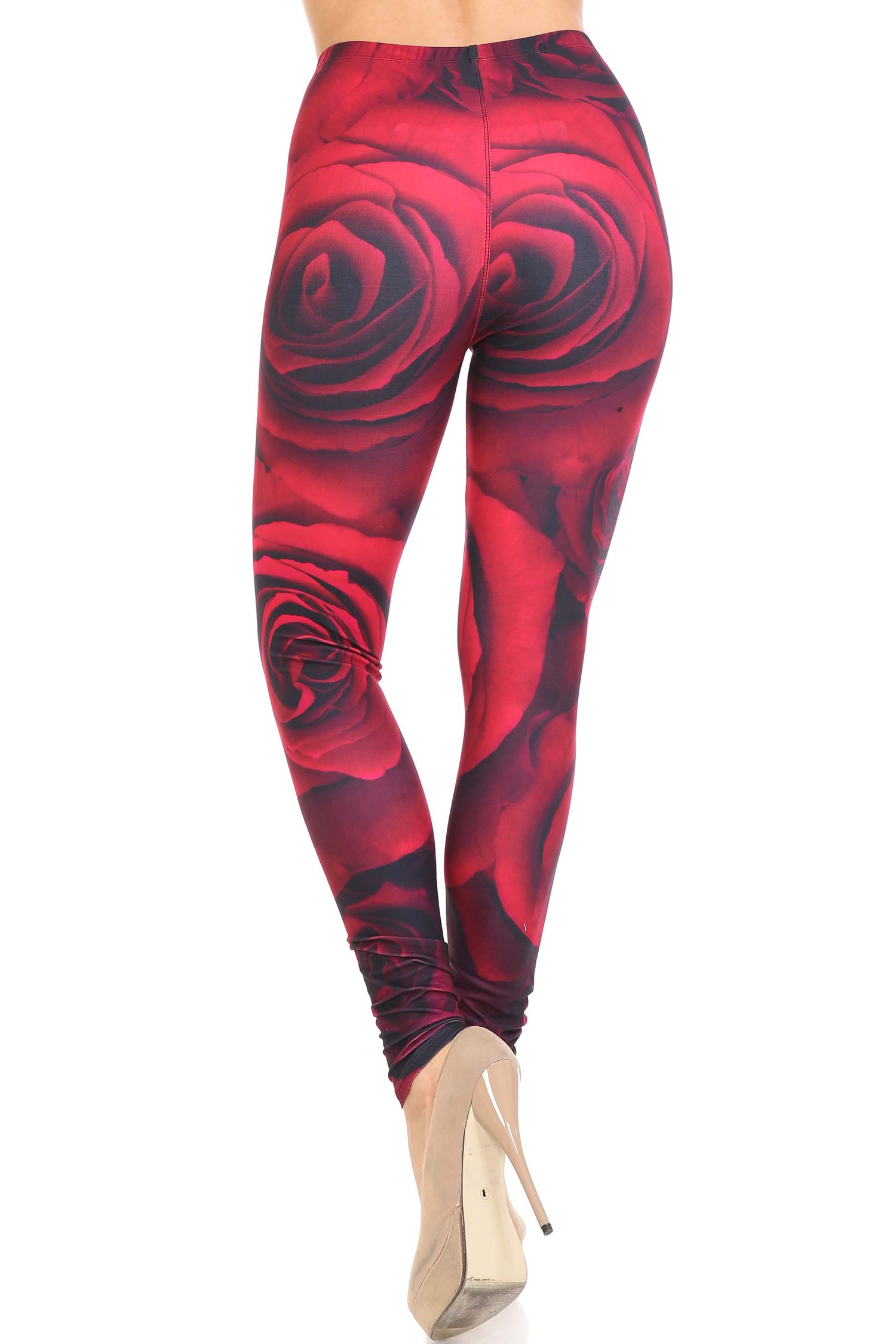 Creamy Soft Jumbo Red Rose Leggings - USA Fashion™