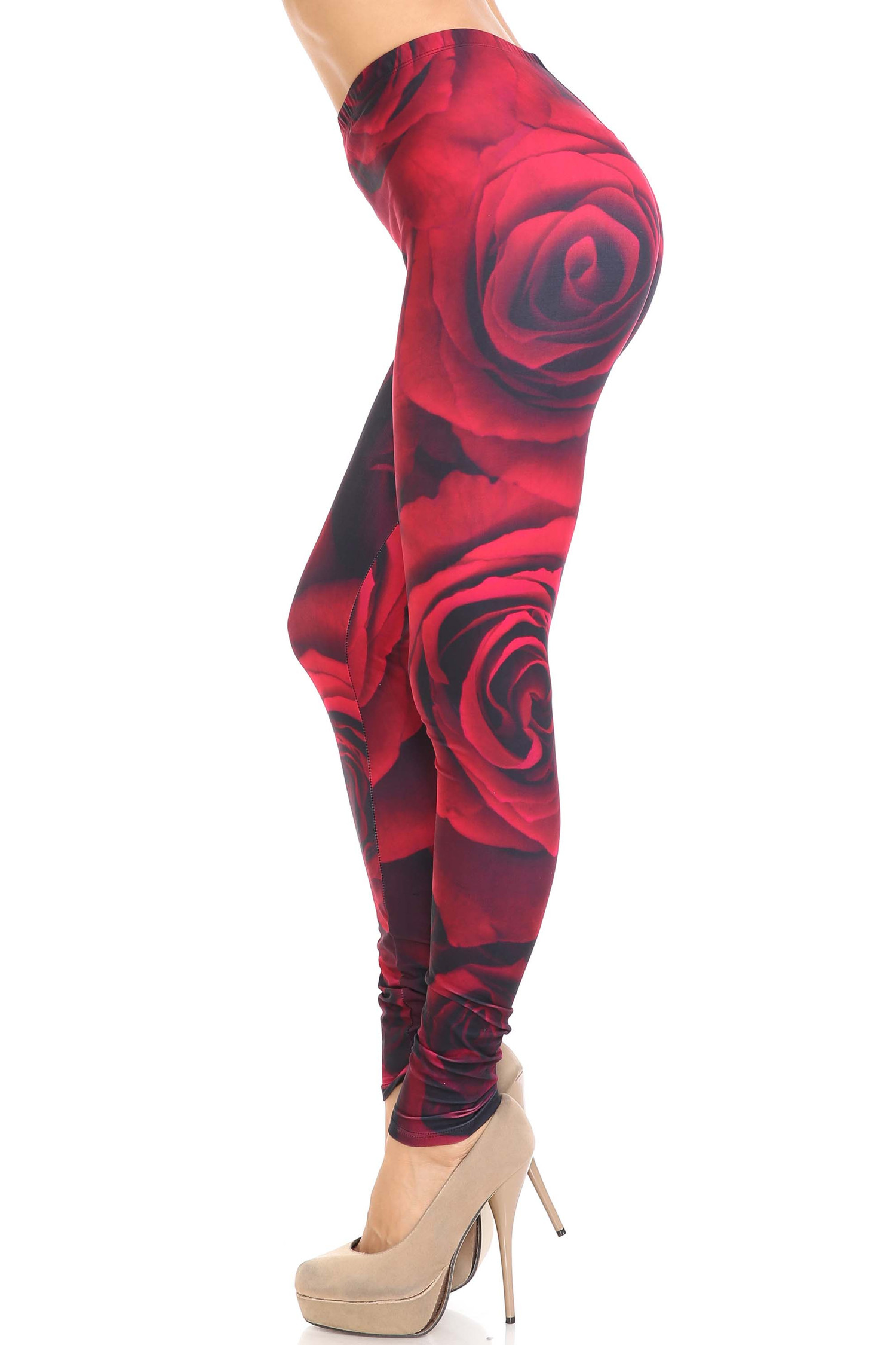 Creamy Soft Jumbo Red Rose Extra Plus Size Leggings - 3X-5X - USA Fashion™