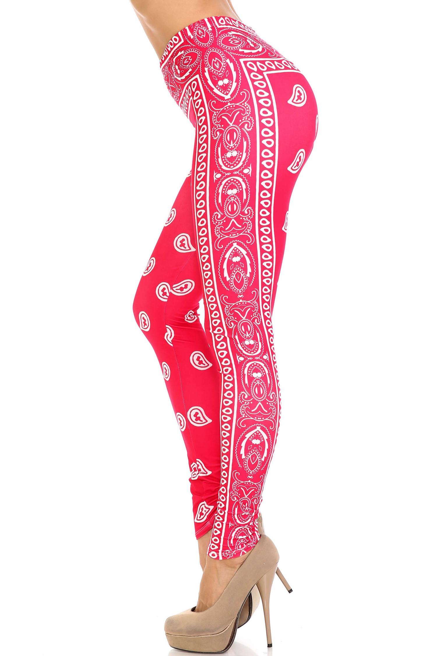 Creamy Soft Red Bandana Leggings - USA Fashion™