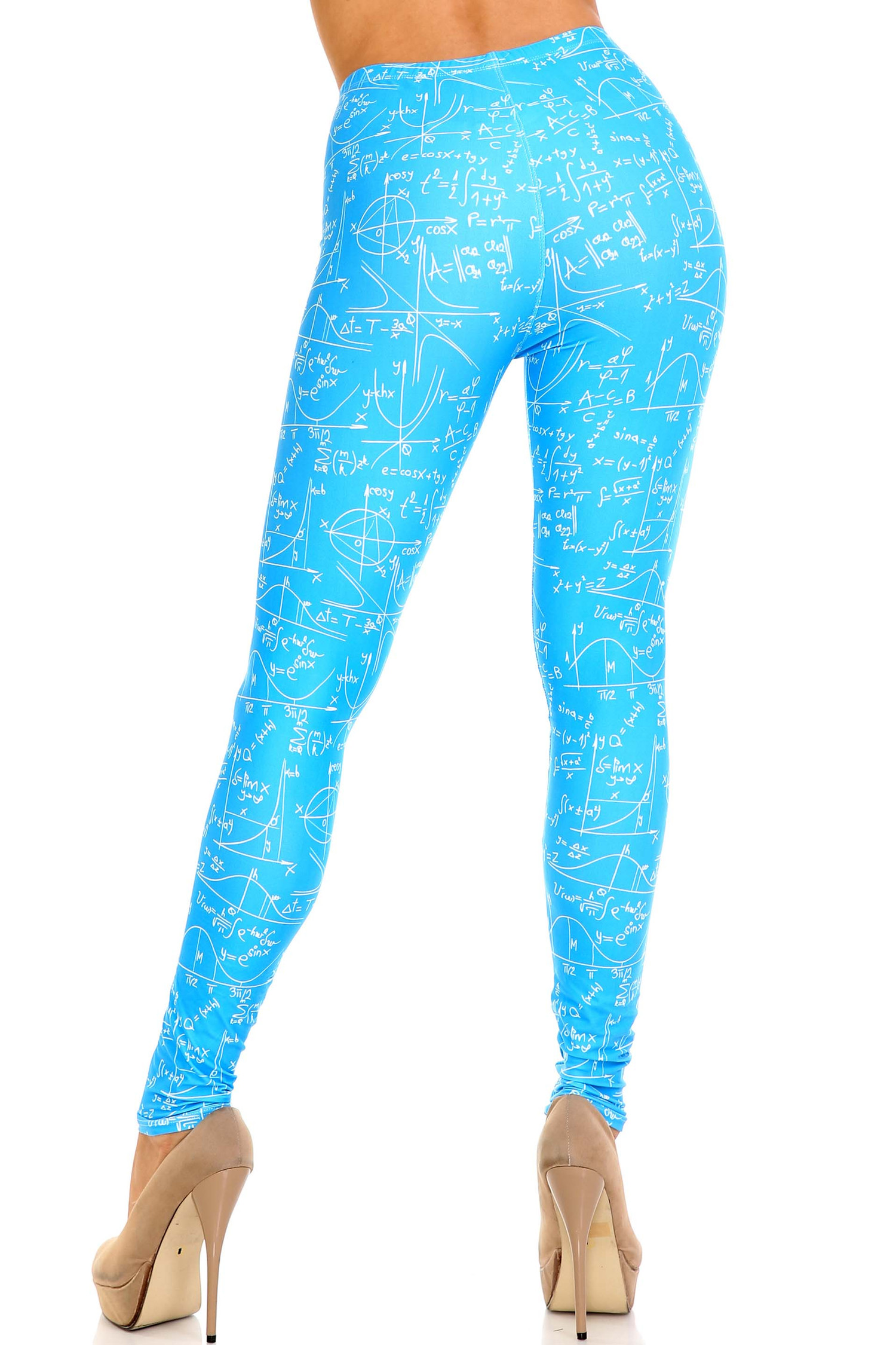Creamy Soft Stained Blue Math Extra Plus Size Leggings - 3X-5X - USA Fashion™