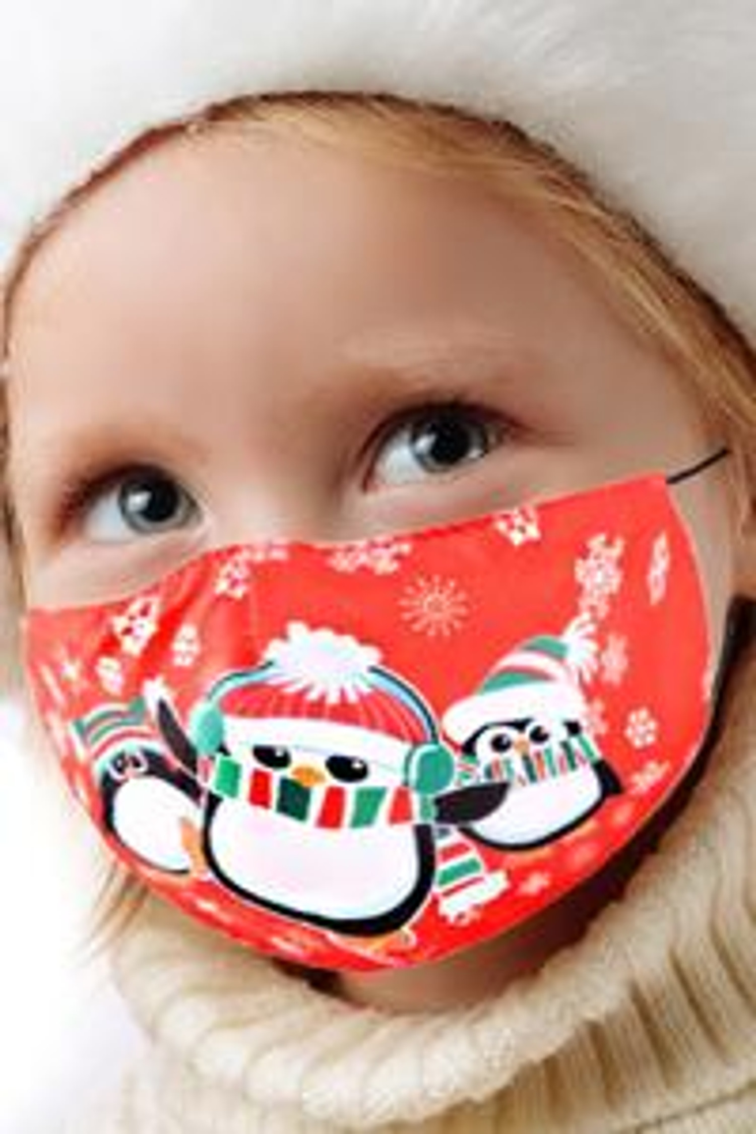 Red Christmas Penguins Kids Face Mask