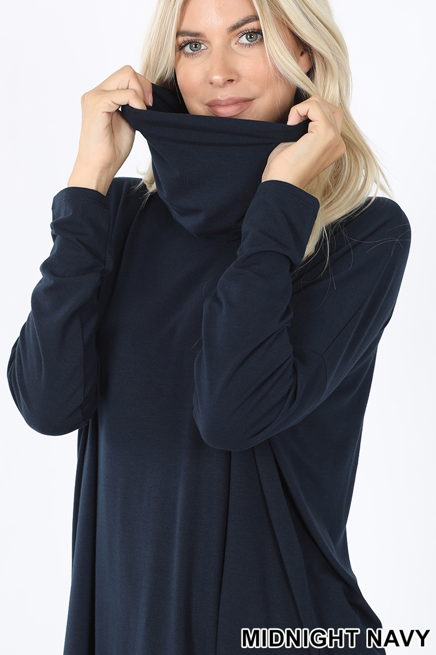 Image showing neck pulled up on Midnight Navy Cowl Neck Hi-Low Long Sleeve Top