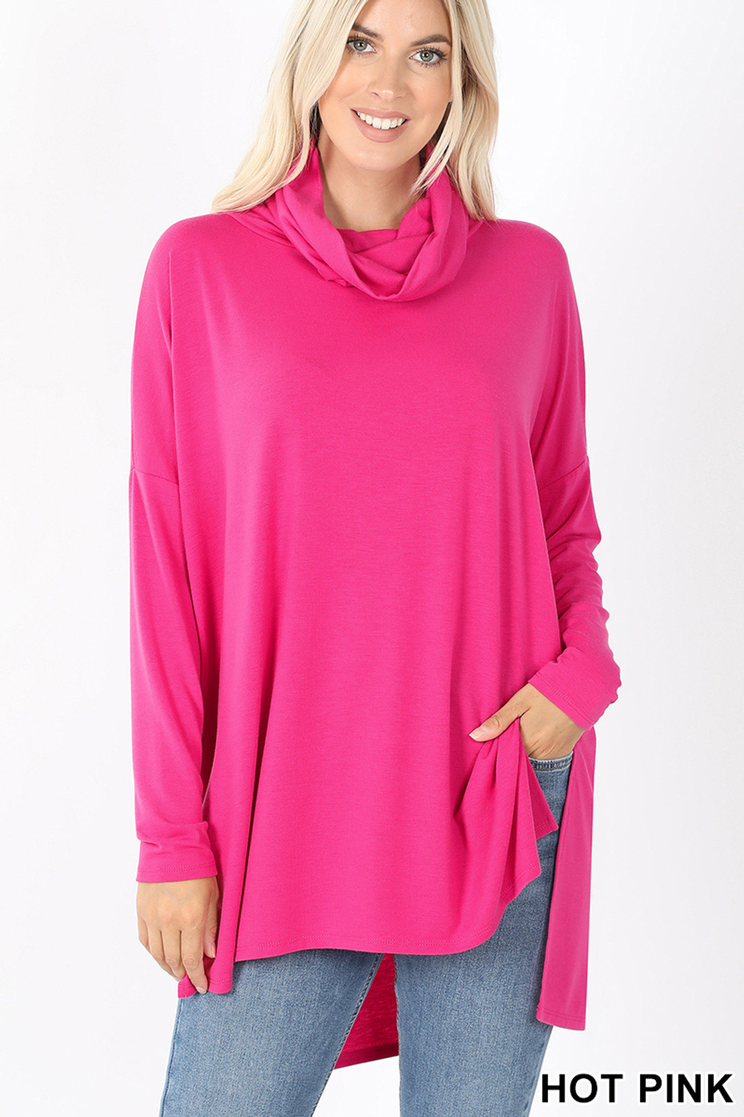 Front image of Hot Pink Cowl Neck Hi-Low Long Sleeve Top