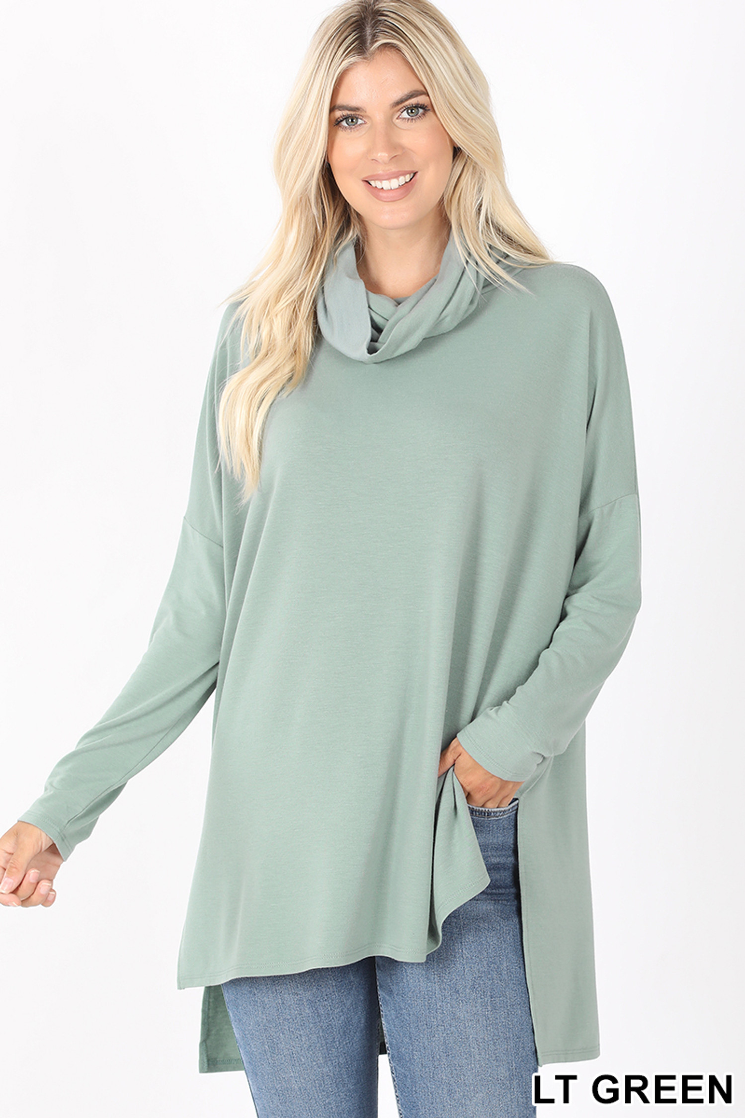 Front image of Light Green Cowl Neck Hi-Low Long Sleeve Top