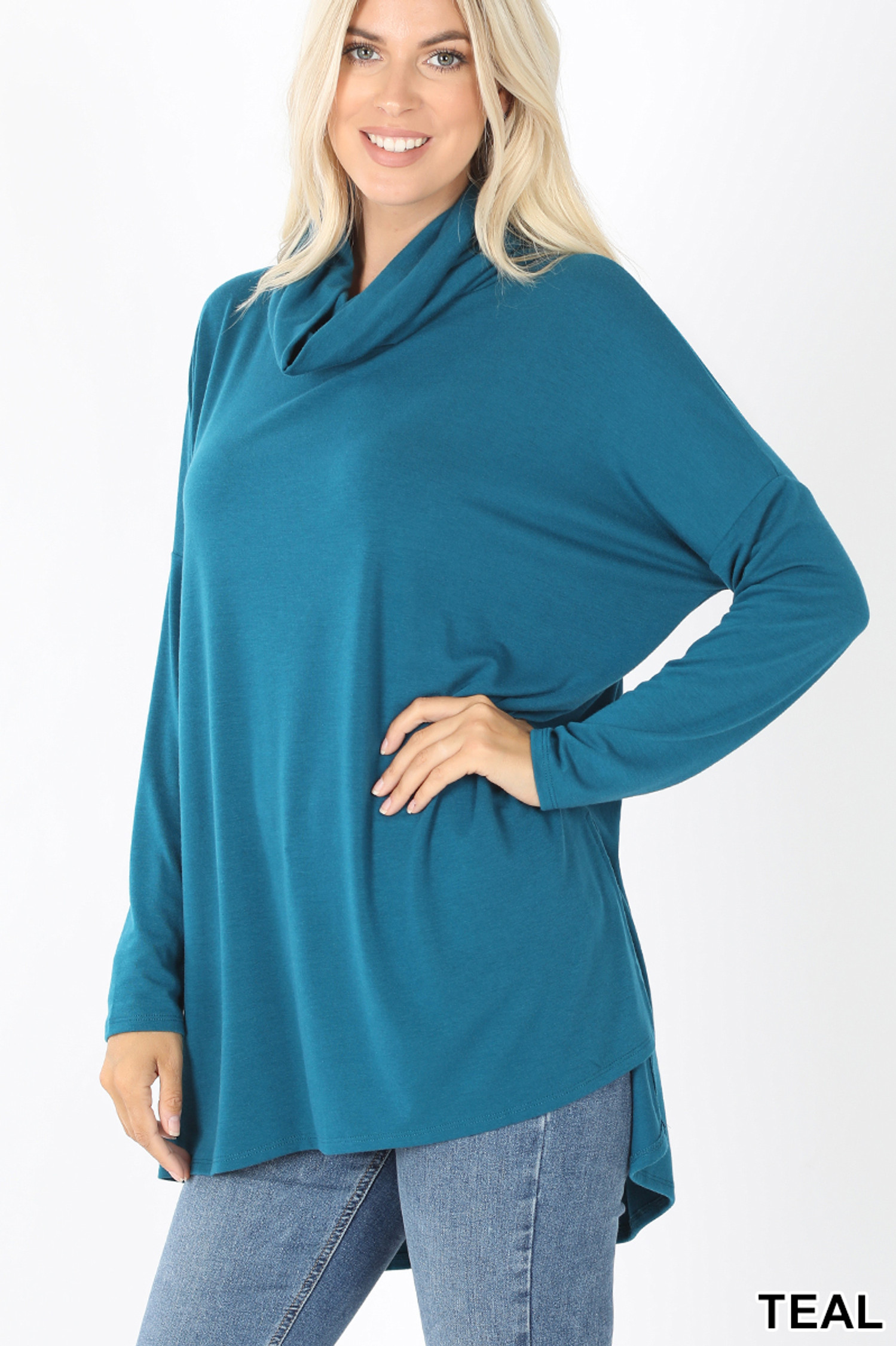 45 Degree Front image of Teal Cowl Neck Hi-Low Long Sleeve Top