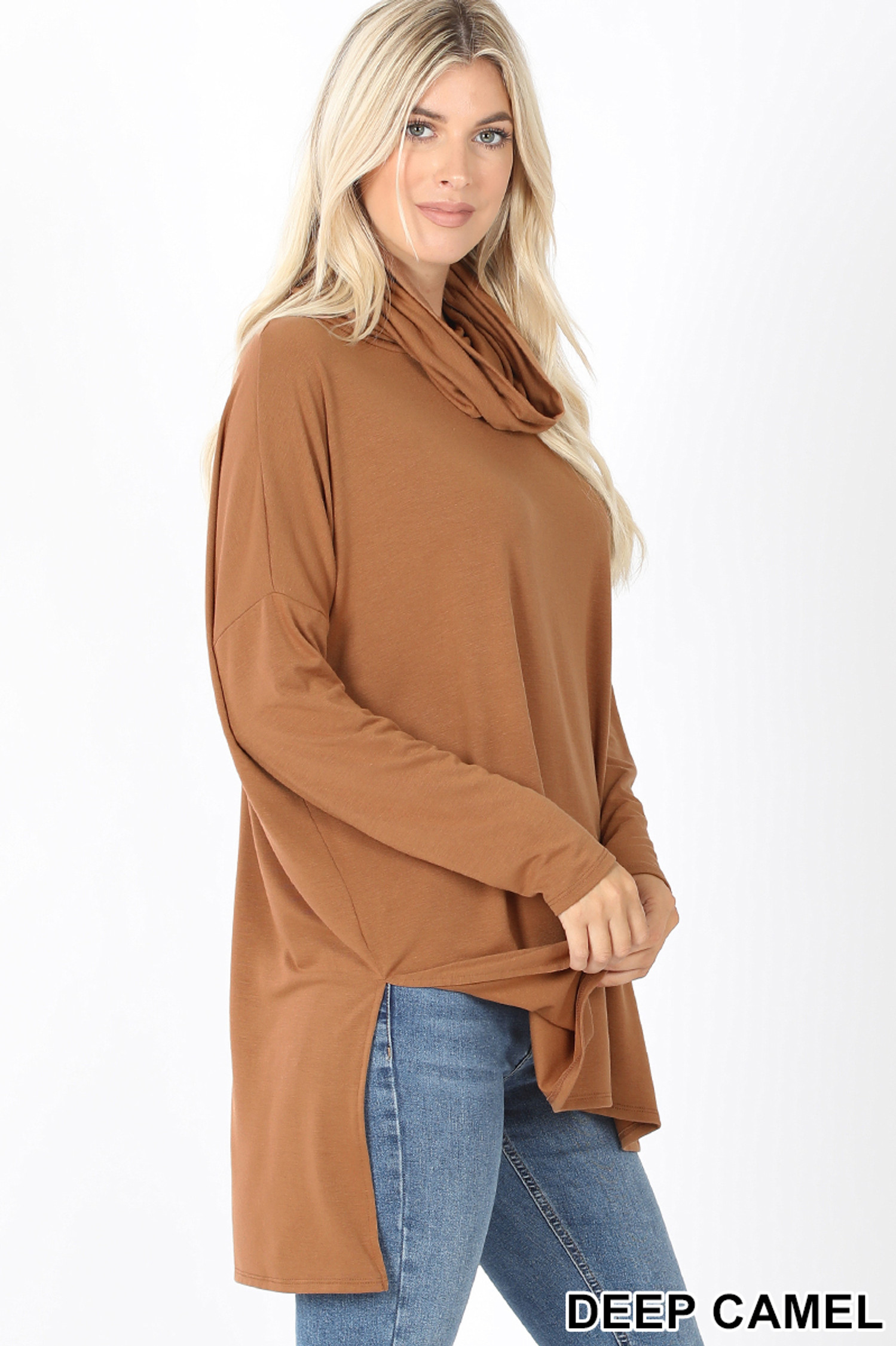 Right side image of Deep Camel Cowl Neck Hi-Low Long Sleeve Top