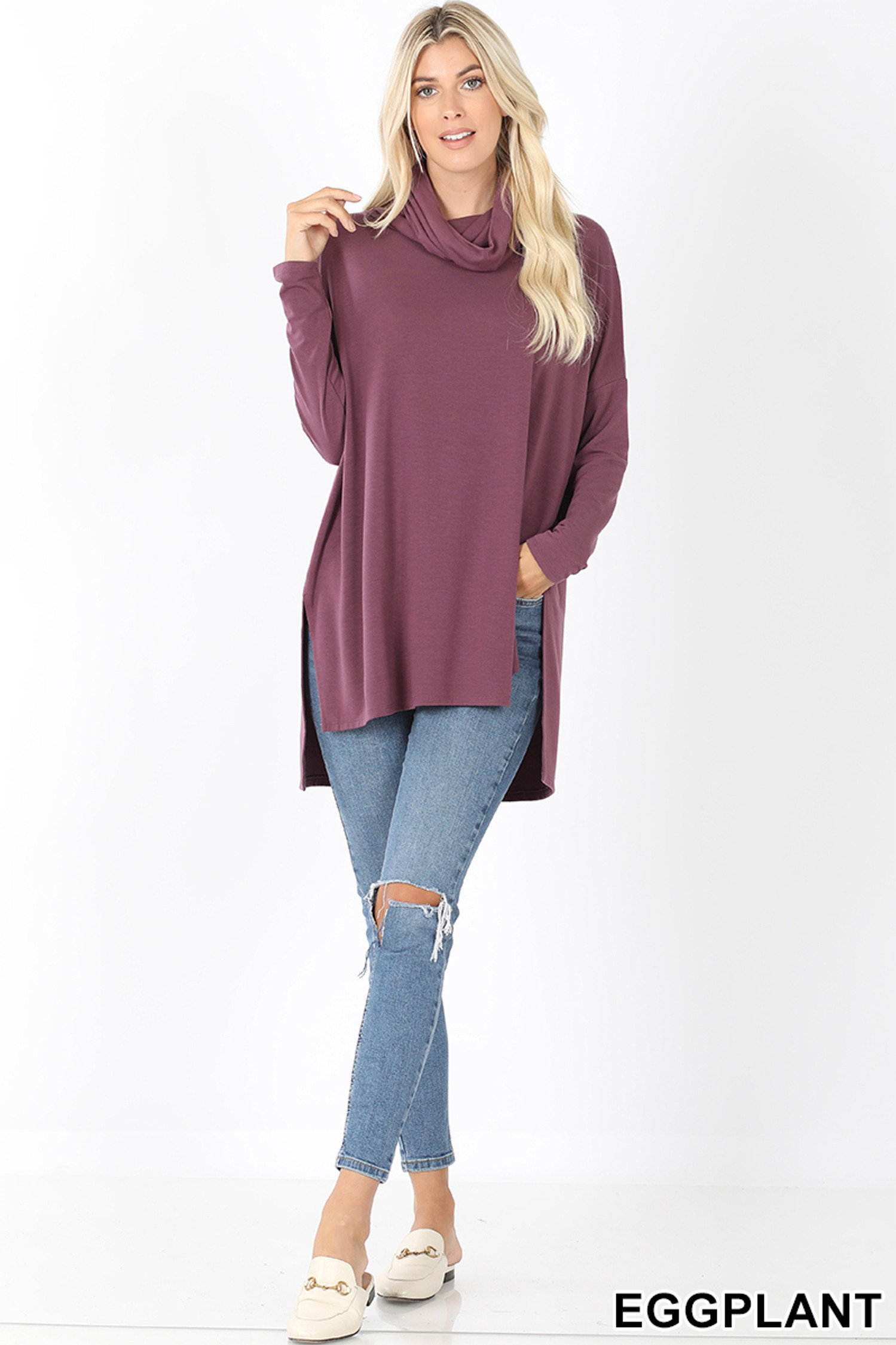 Full body front image of Eggplant Cowl Neck Hi-Low Long Sleeve Top