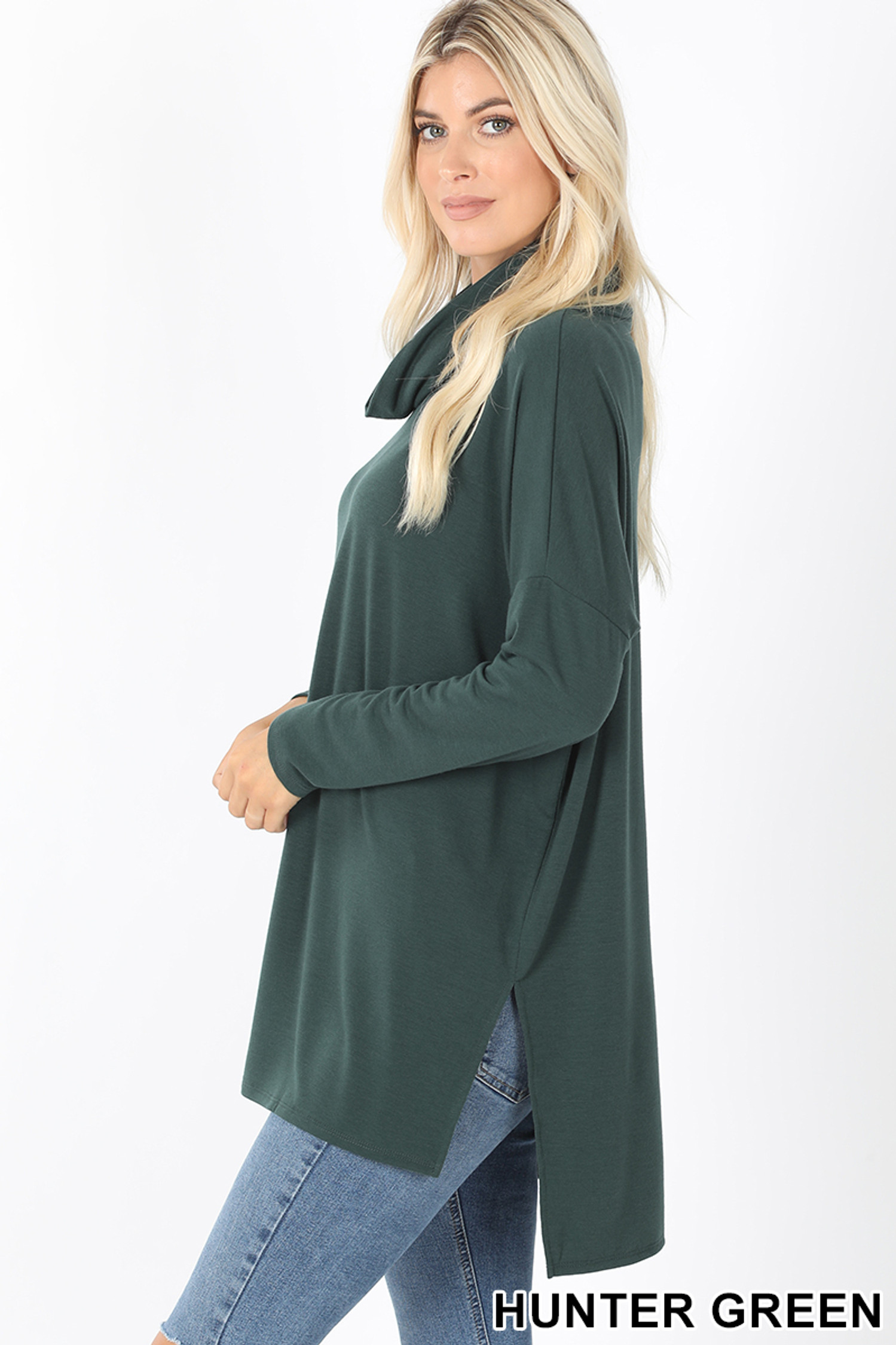 Left side of Hunter Cowl Neck Hi-Low Long Sleeve Plus Size Top
