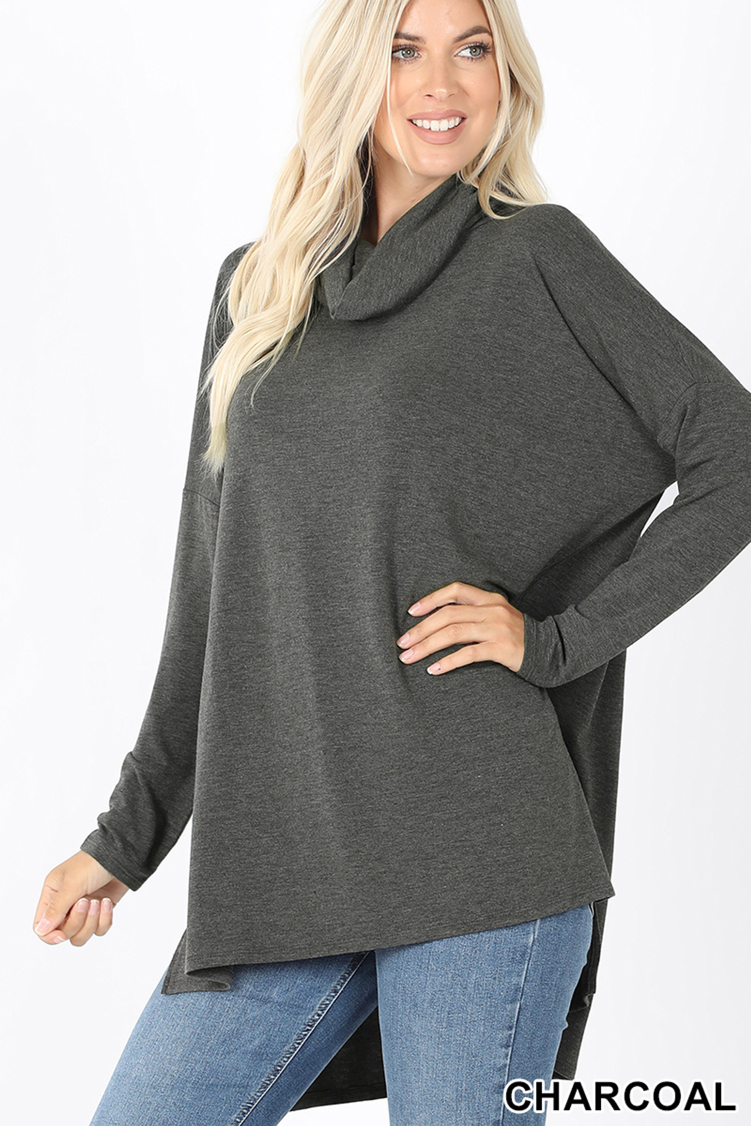 Front image of Charcoal Cowl Neck Hi-Low Long Sleeve Plus Size Top
