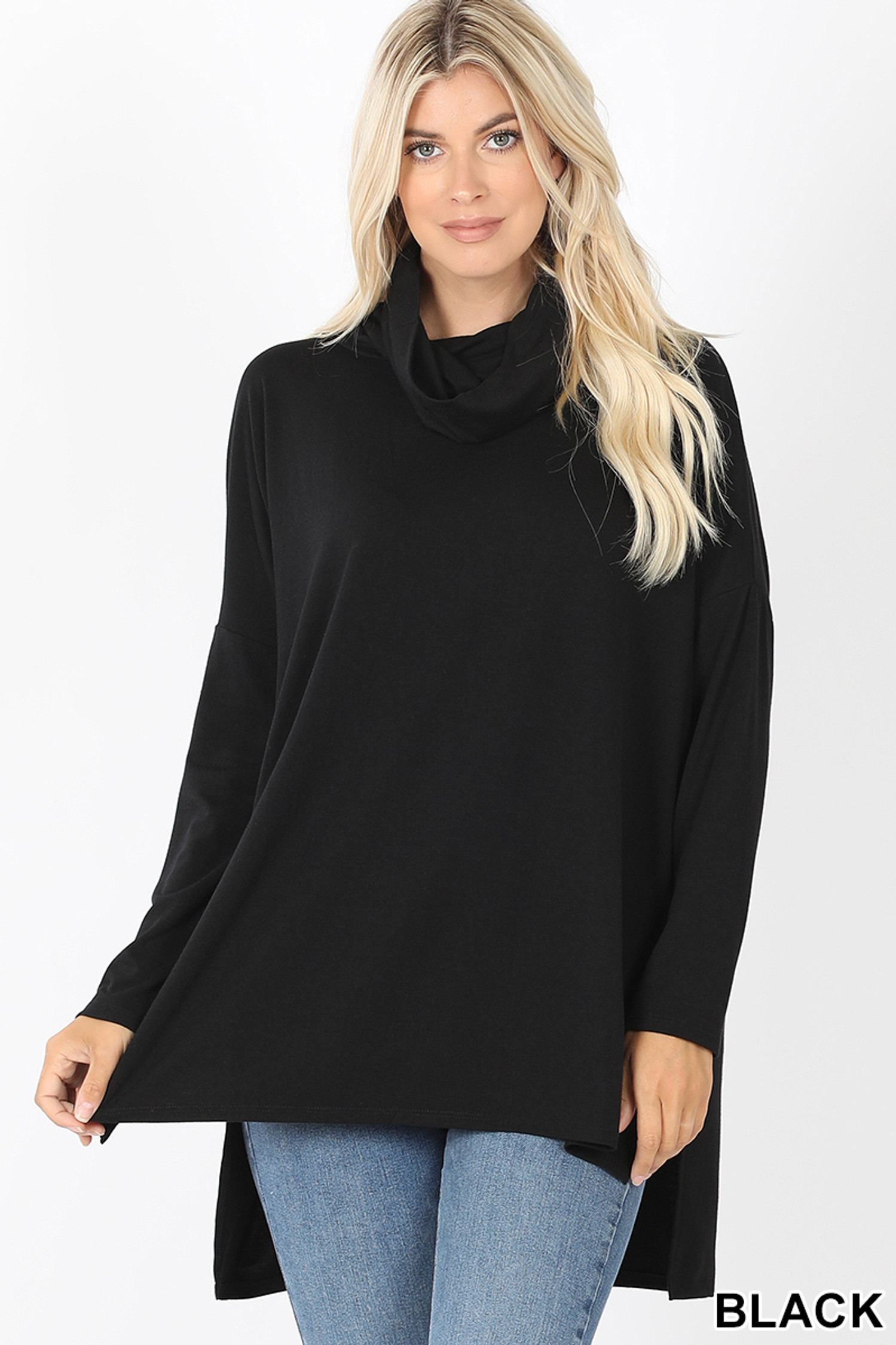 Front image of Black Cowl Neck Hi-Low Long Sleeve Plus Size Top