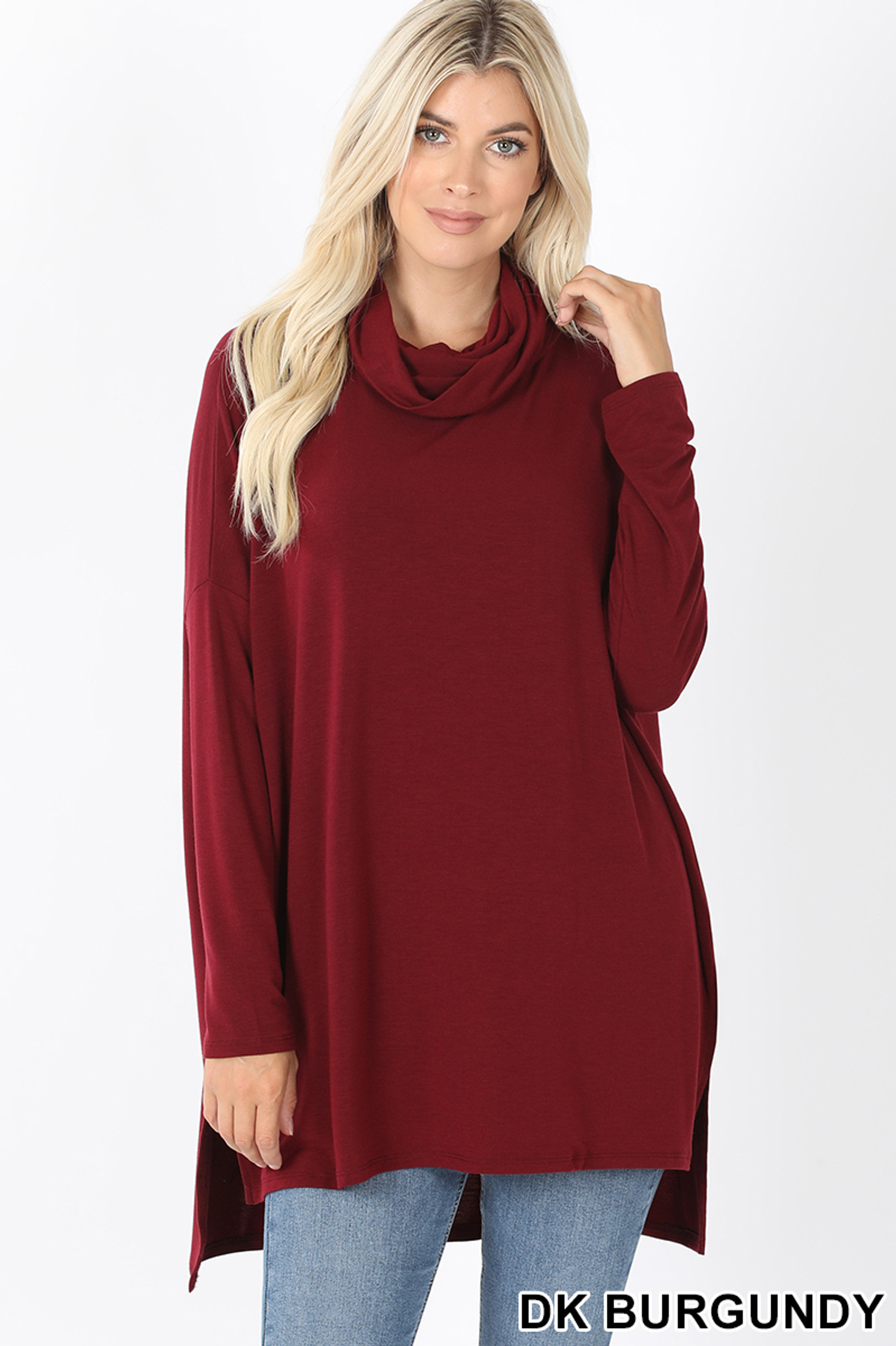 Front image of Dark Burgundy Cowl Neck Hi-Low Long Sleeve Plus Size Top