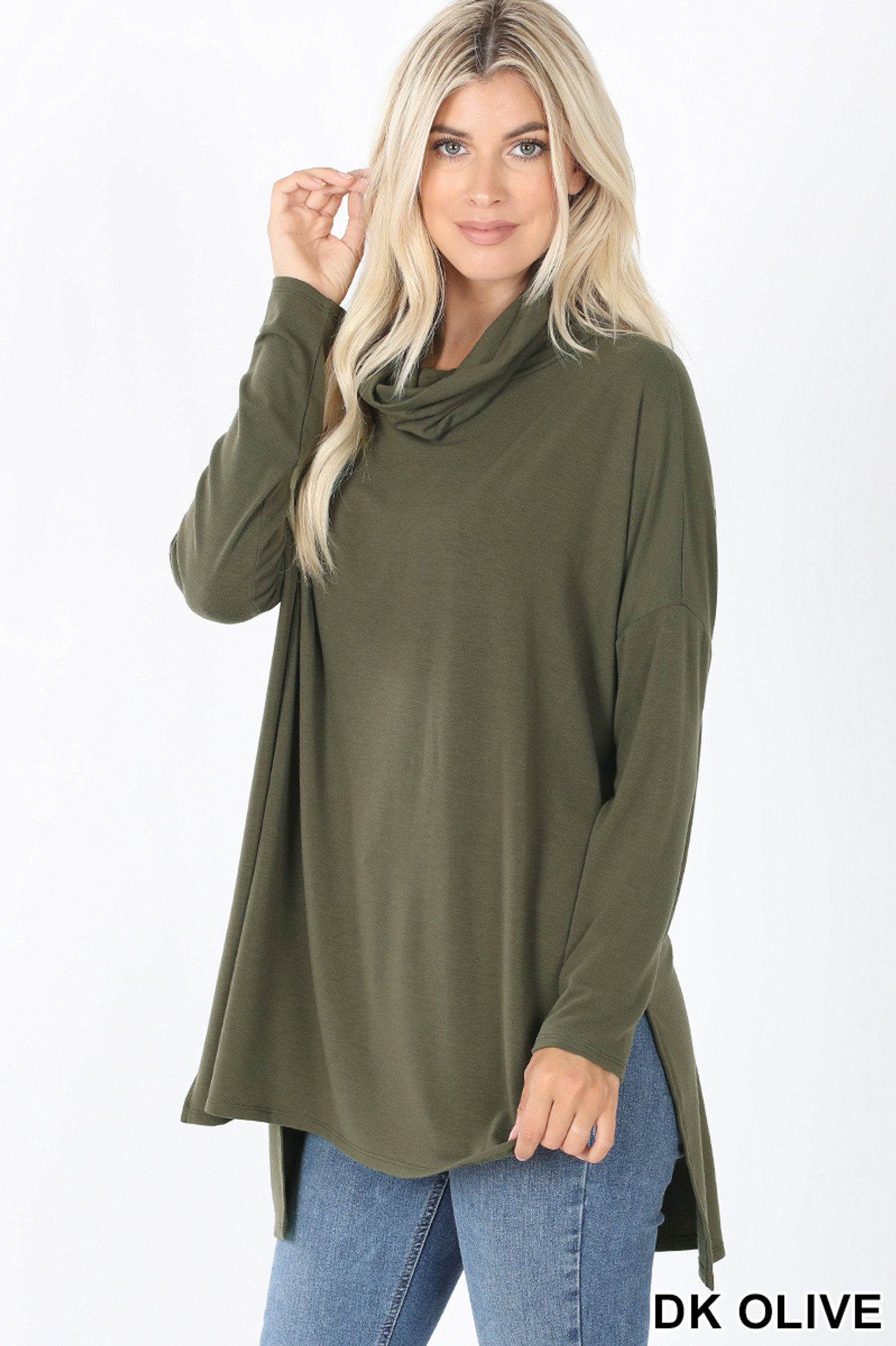 45 Degree Front image of Dark Olive Cowl Neck Hi-Low Long Sleeve Plus Size Top