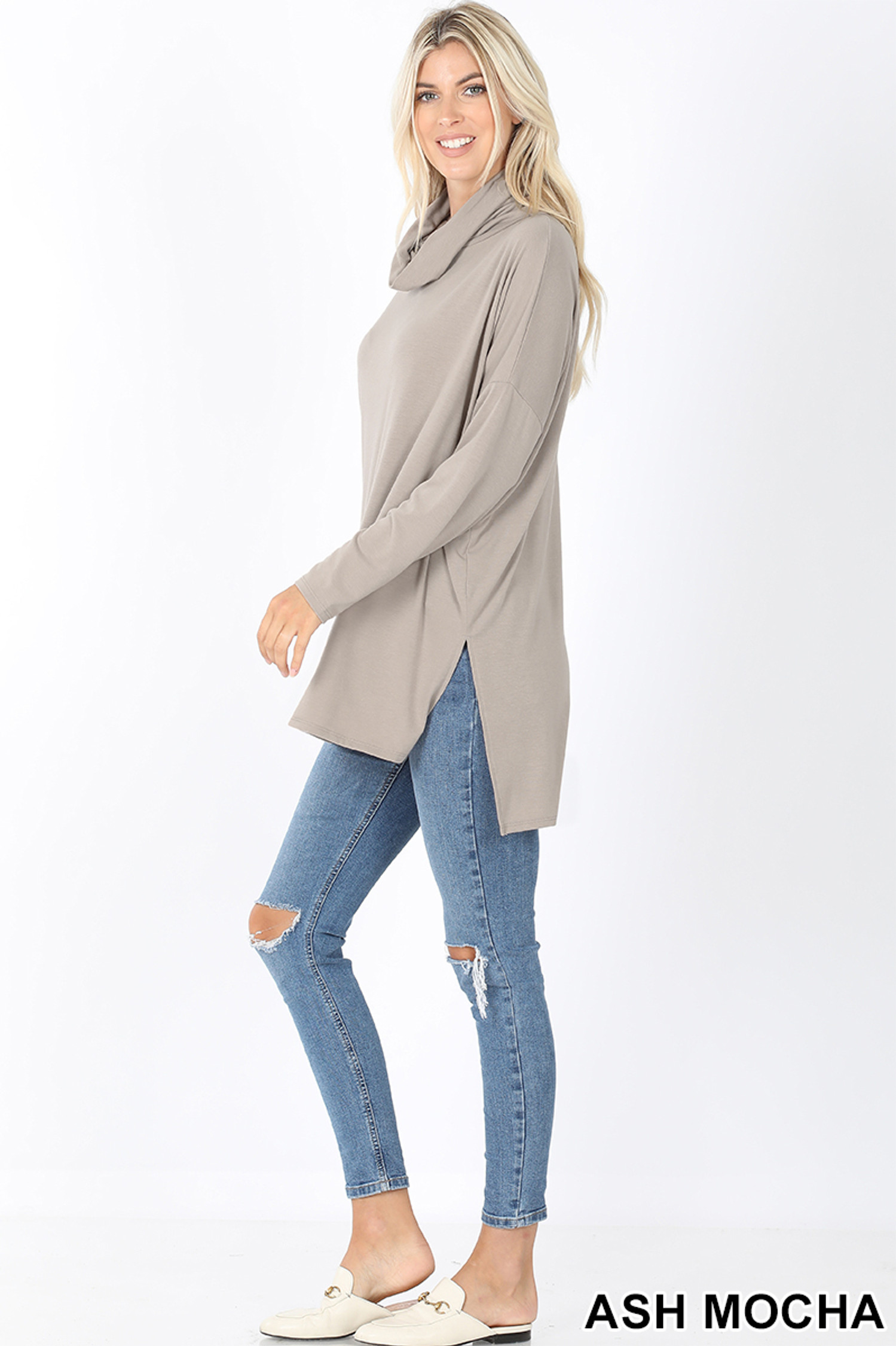 Full body left side image of Ash Mocha Cowl Neck Hi-Low Long Sleeve Plus Size Top