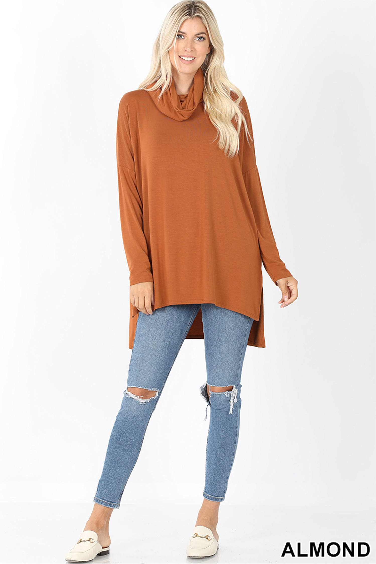 Full body front image of Almond Cowl Neck Hi-Low Long Sleeve Plus Size Top