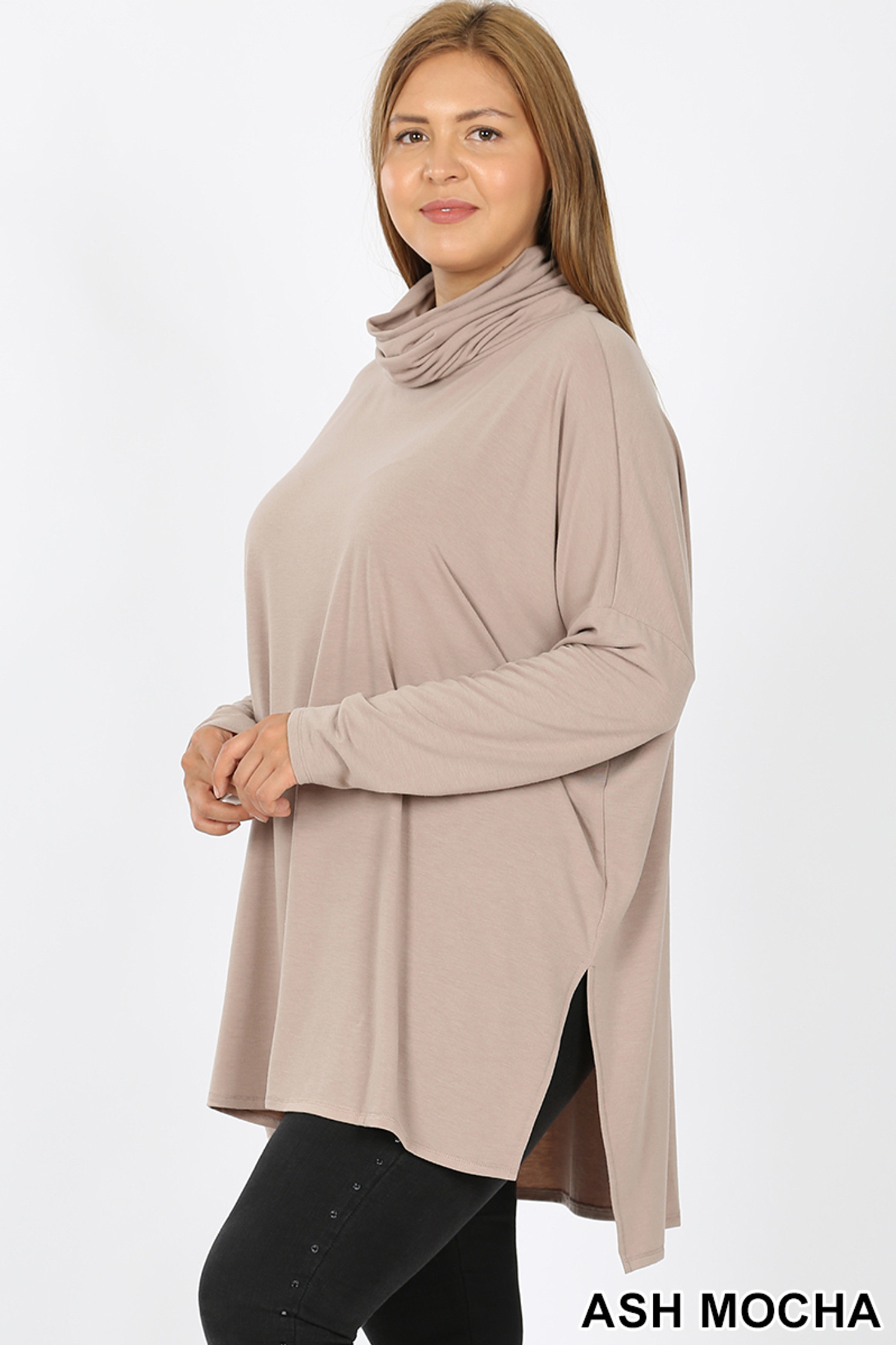 Left side  image of Ash Mocha Rayon Cowl Neck Dolman Sleeve Plus Size Top