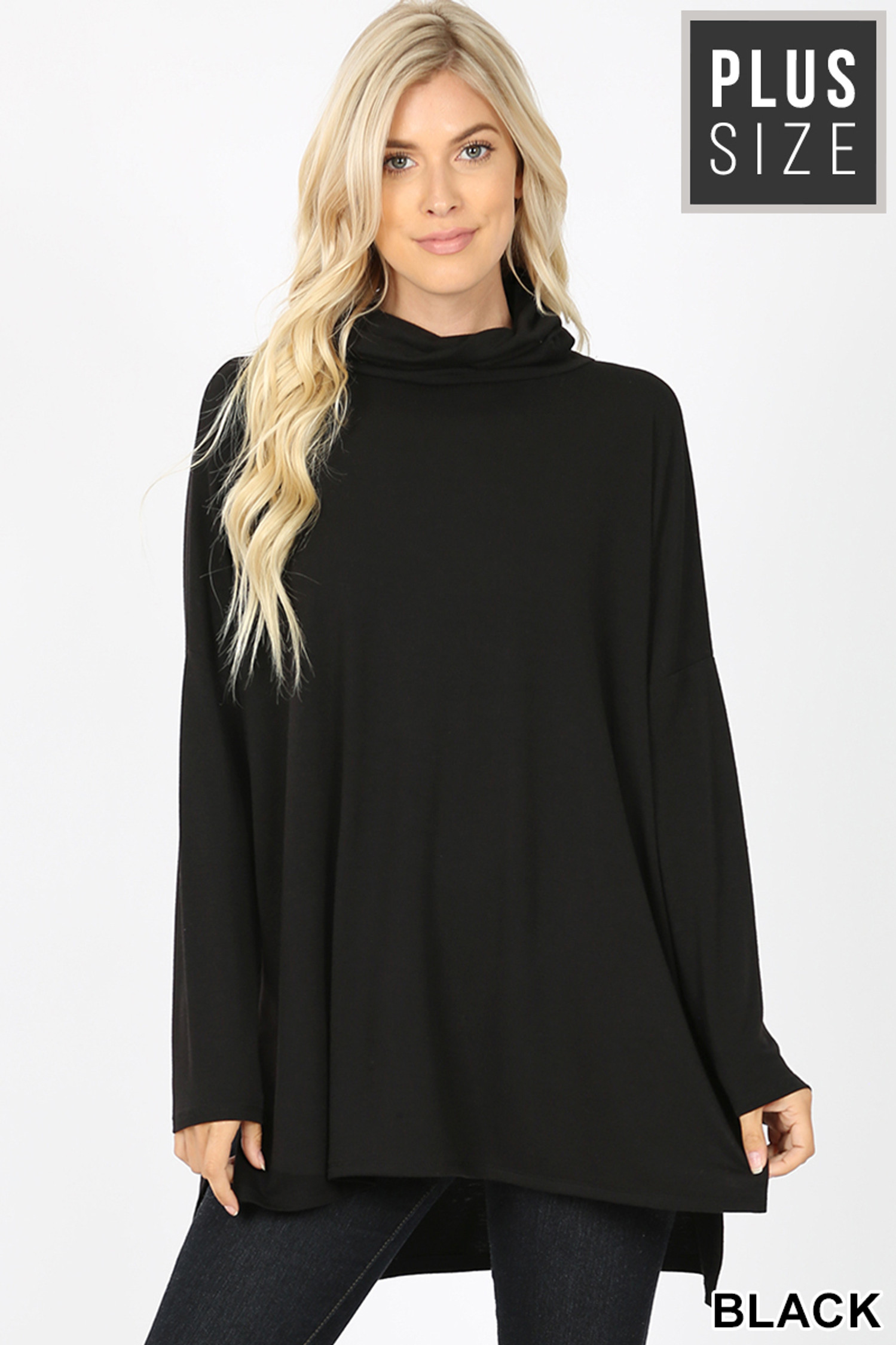 Front image of Black Rayon Cowl Neck Dolman Sleeve Plus Size Top