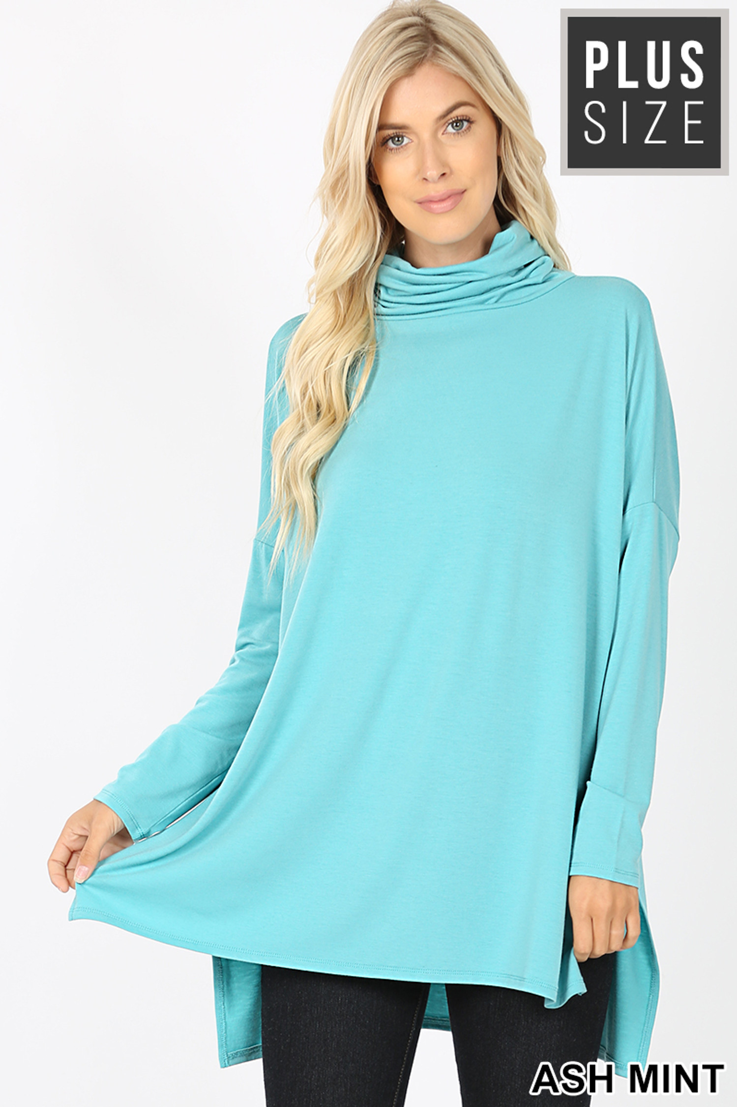 Front image of Ash Mint Rayon Cowl Neck Dolman Sleeve Plus Size Top