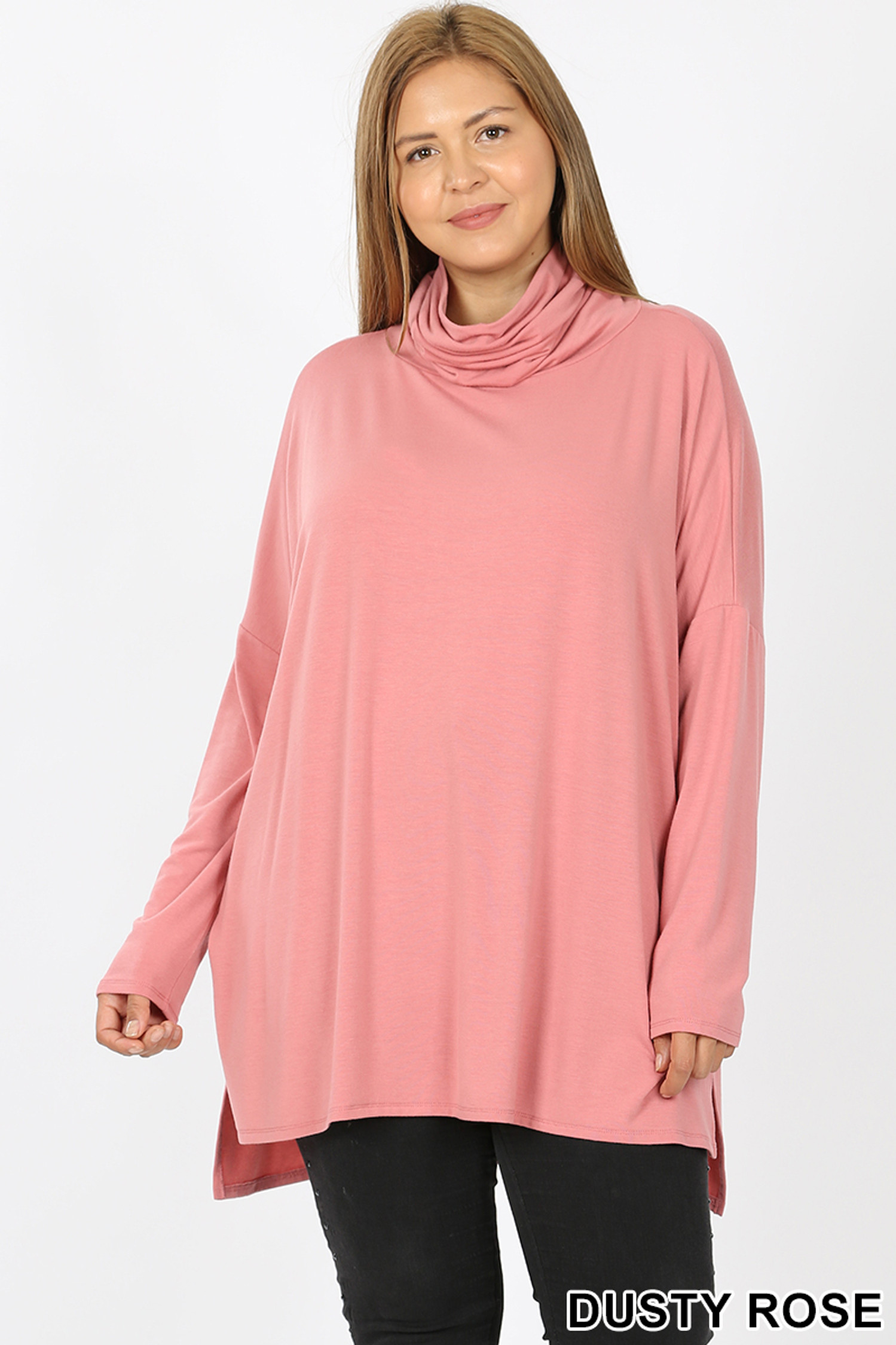 Front image of Dusty Rose Rayon Cowl Neck Dolman Sleeve Plus Size Top