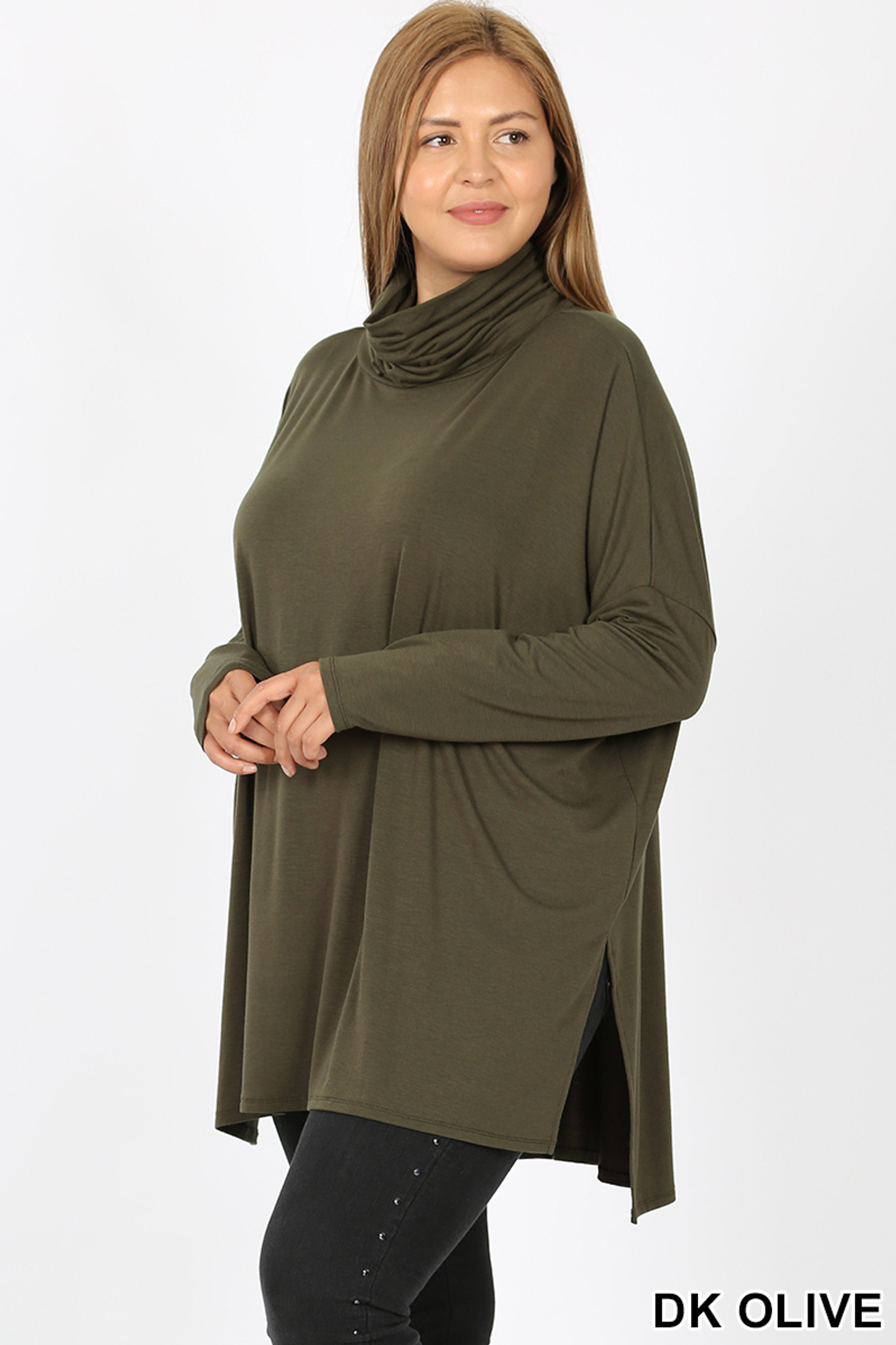45 degree image of Dark Olive Rayon Cowl Neck Dolman Sleeve Plus Size Top