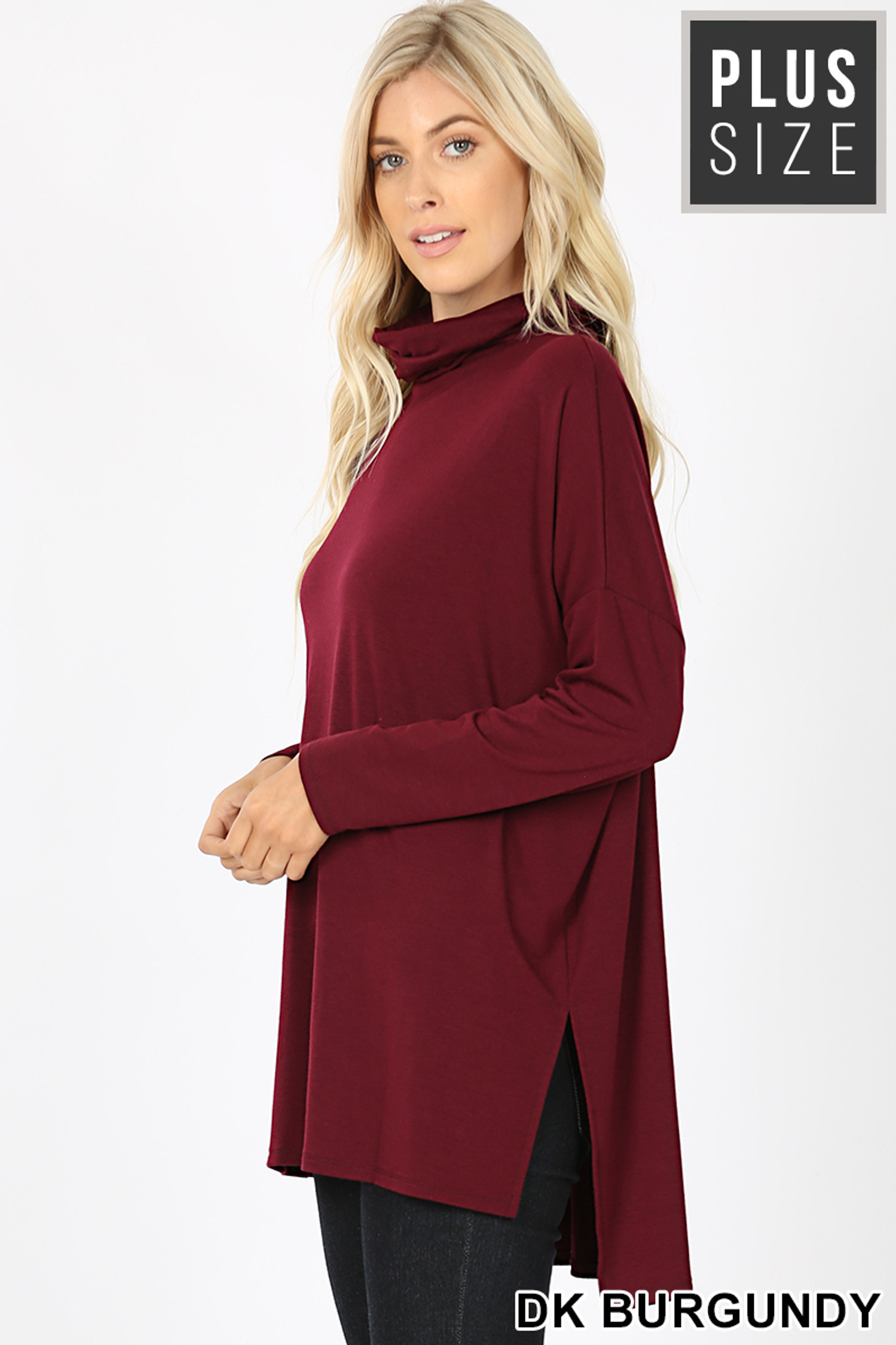 Left side image of Dark Burgundy Rayon Cowl Neck Dolman Sleeve Plus Size Top