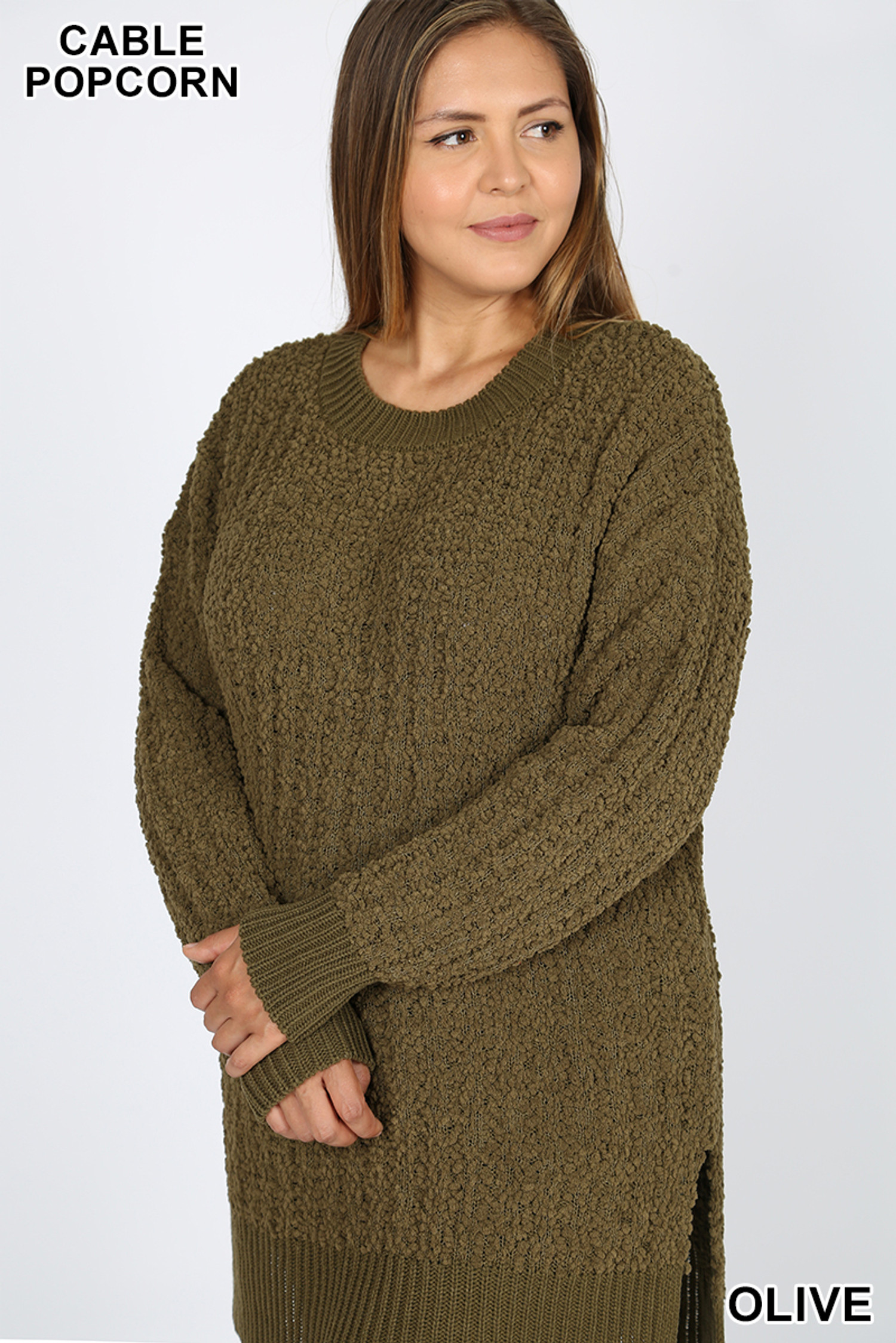 Front image of Olive Cable Knit Popcorn Round Neck Hi-Low Plus Size Sweater