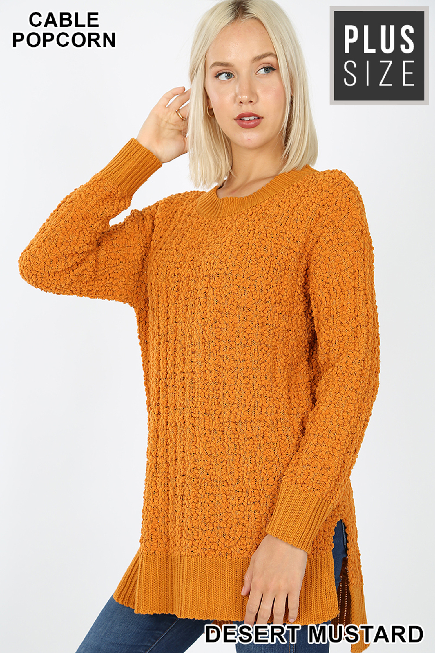 Front image of Desert Mustard Cable Knit Popcorn Round Neck Hi-Low Plus Size Sweater