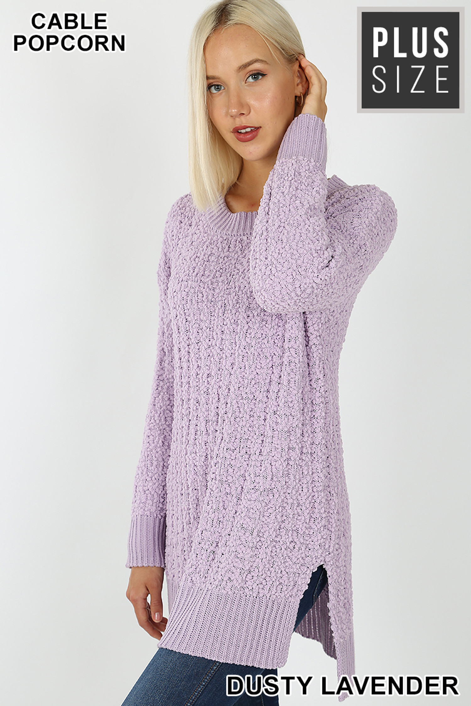 45 degree image of Dusty Lavender Cable Knit Popcorn Round Neck Hi-Low Plus Size Sweater
