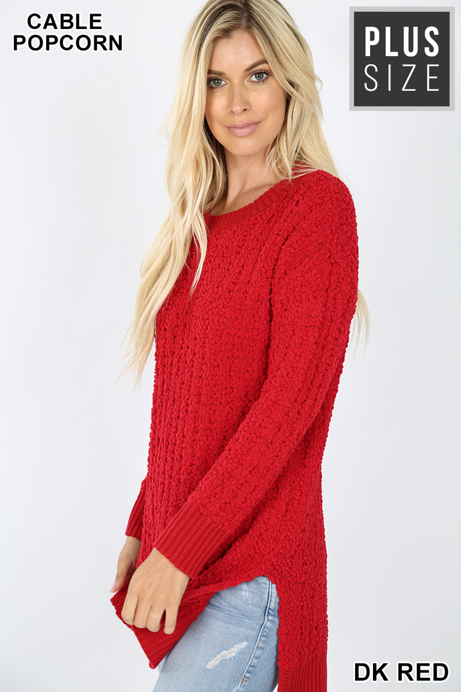 Left side image of Dark Red Cable Knit Popcorn Round Neck Hi-Low Plus Size Sweater