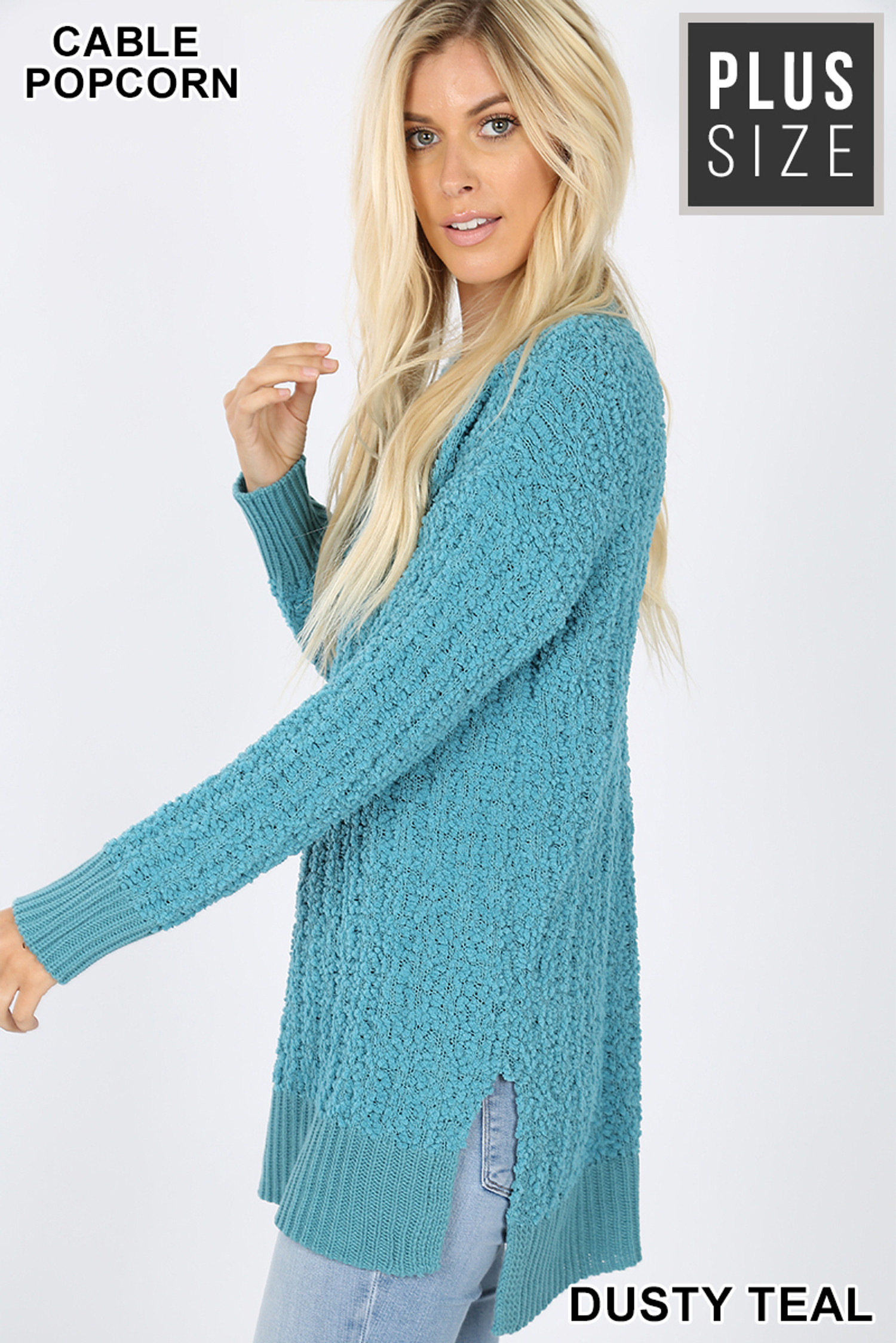 Left side image of Dusty Teal Cable Knit Popcorn Round Neck Hi-Low Plus Size Sweater