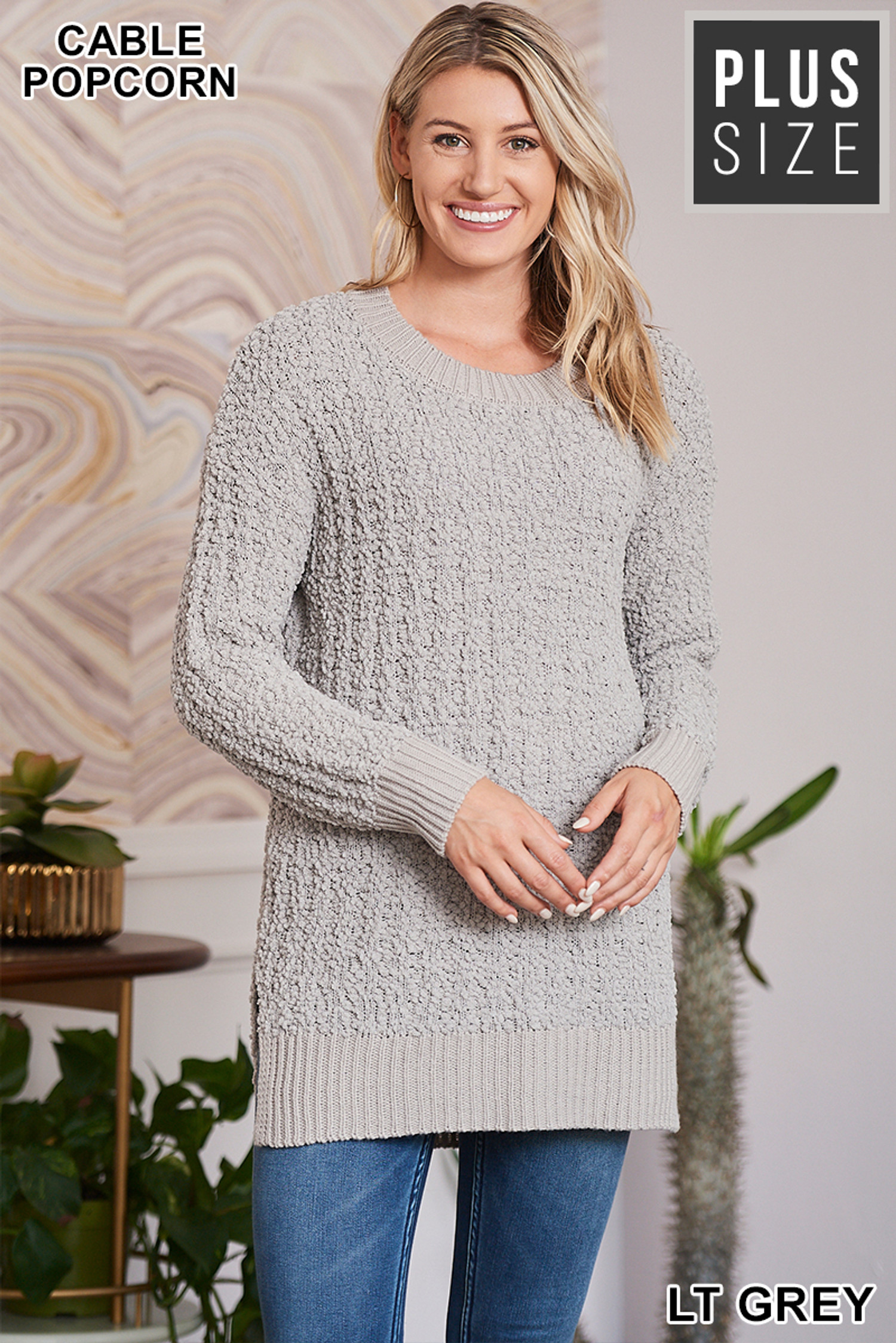 Front image of Light Grey Cable Knit Popcorn Round Neck Hi-Low Plus Size Sweater