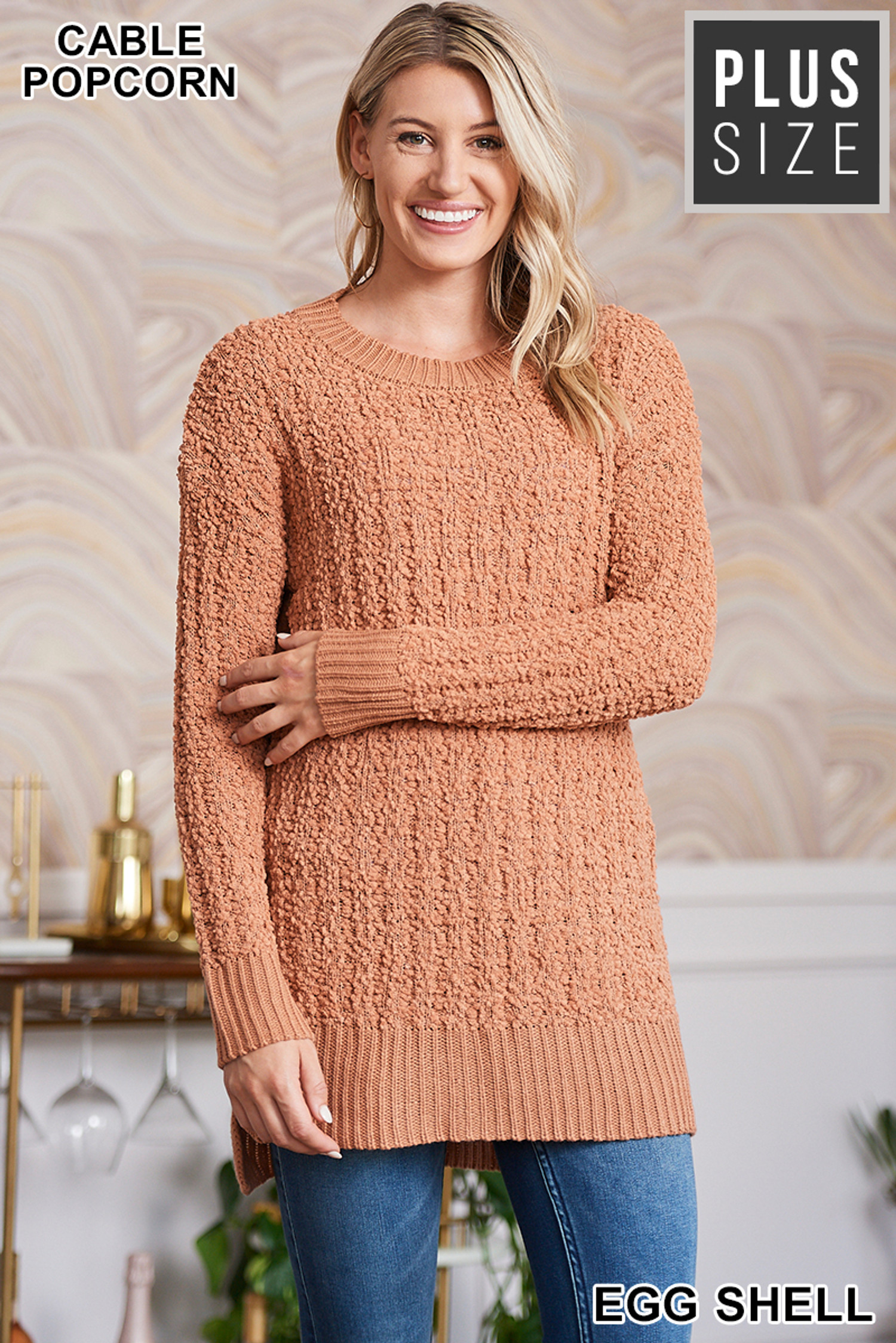 Front image of Eggshell Cable Knit Popcorn Round Neck Hi-Low Plus Size Sweater