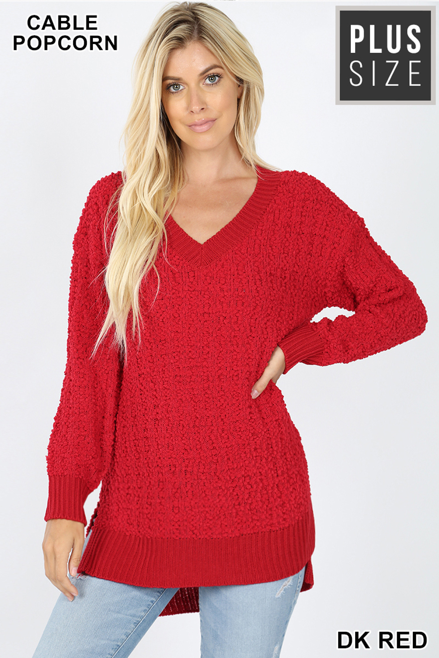 Front image of Dark Red Cable Knit Popcorn V-Neck Hi-Low Plus Size Sweater