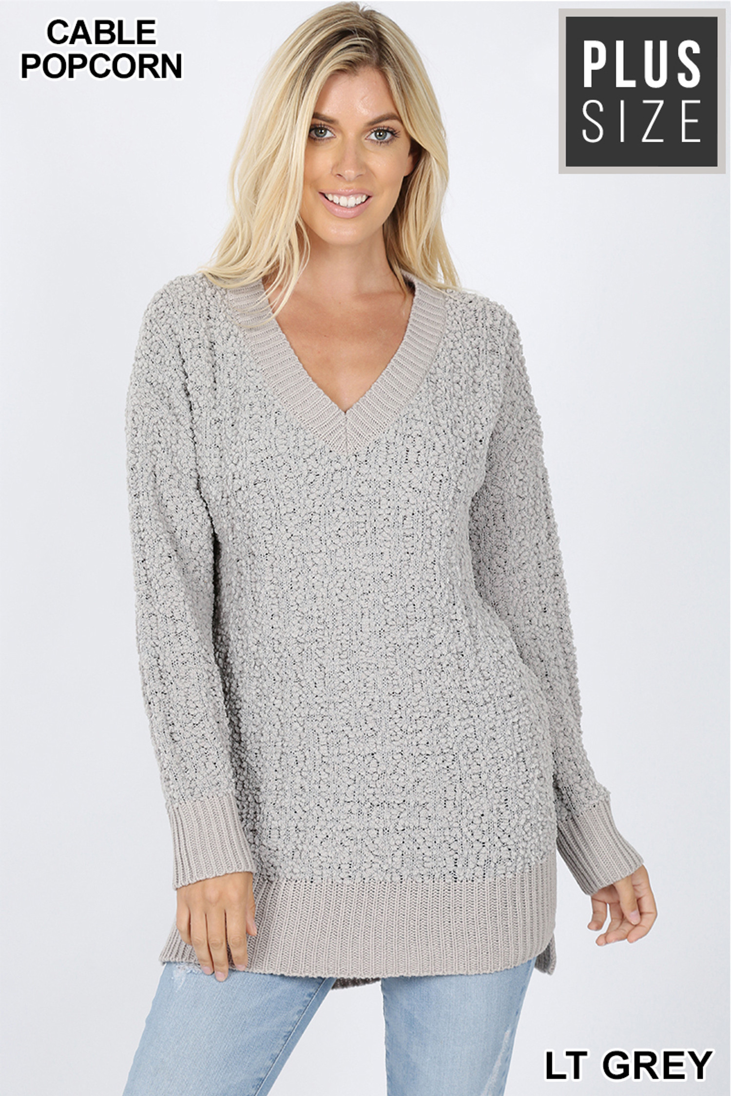Front image of Light Grey Cable Knit Popcorn V-Neck Hi-Low Plus Size Sweater
