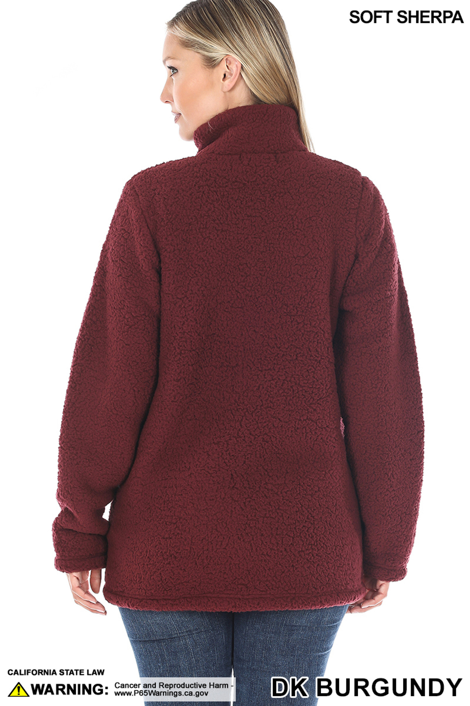 Back side image of of Dark Burgundy Sherpa Zip Up Jacket with Side Pockets
