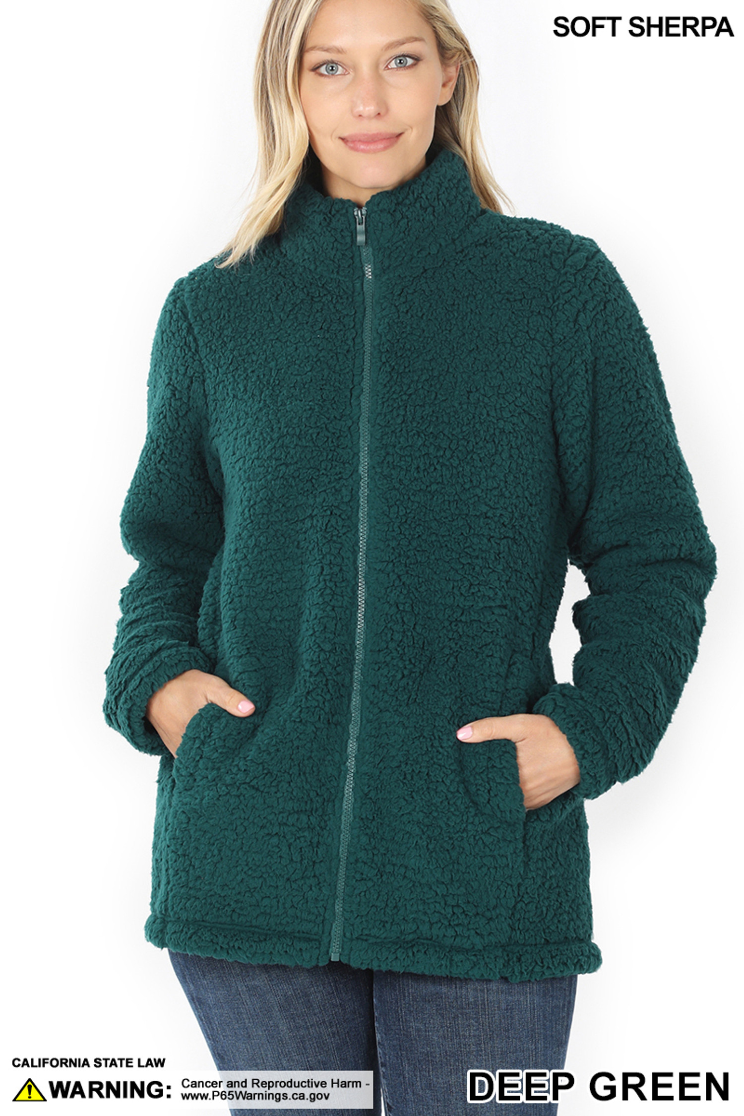 Front of Deep Green Sherpa Zip Up Jacket with Side Pockets