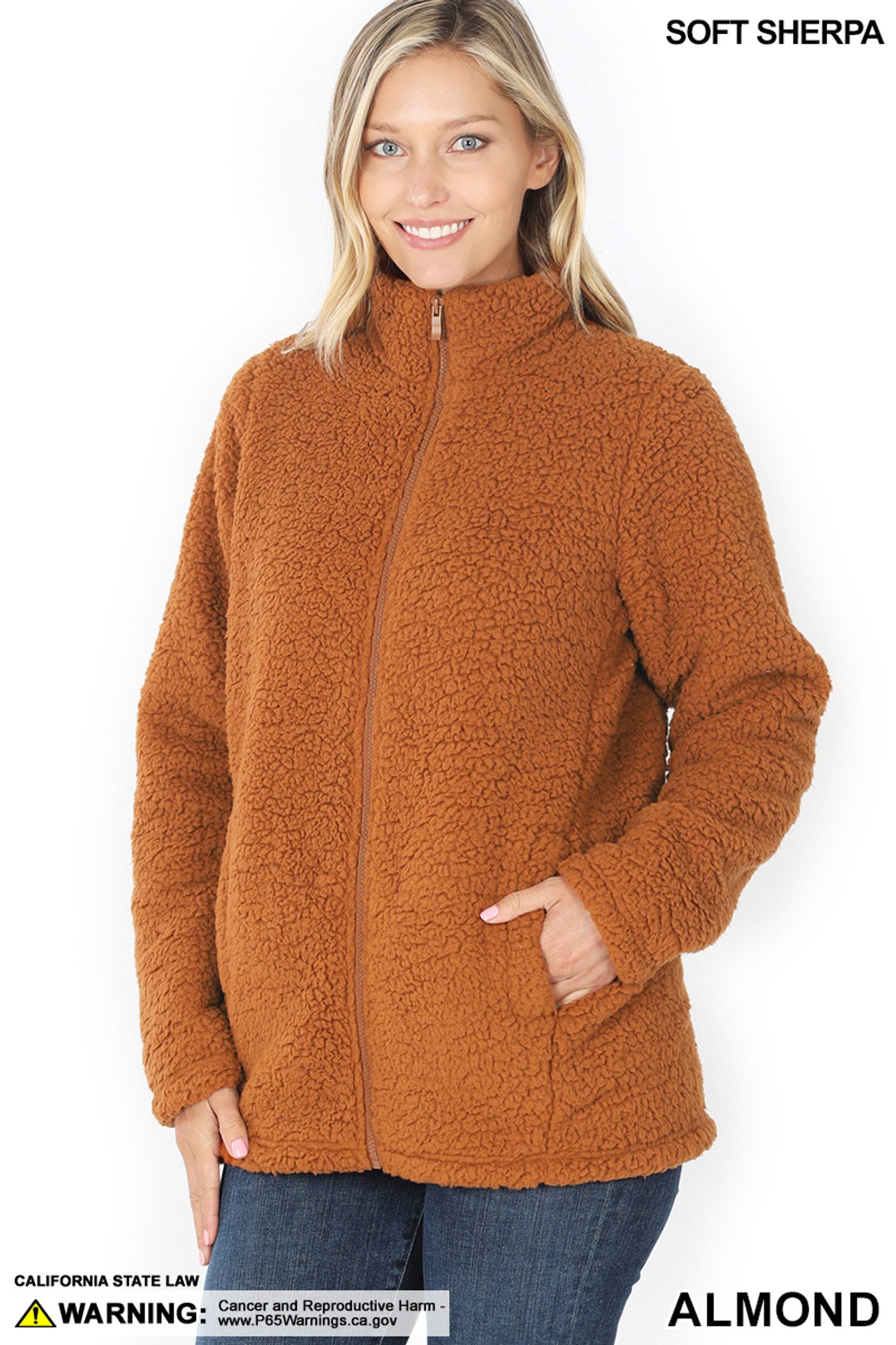 Front of Almond Sherpa Zip Up Jacket with Side Pockets