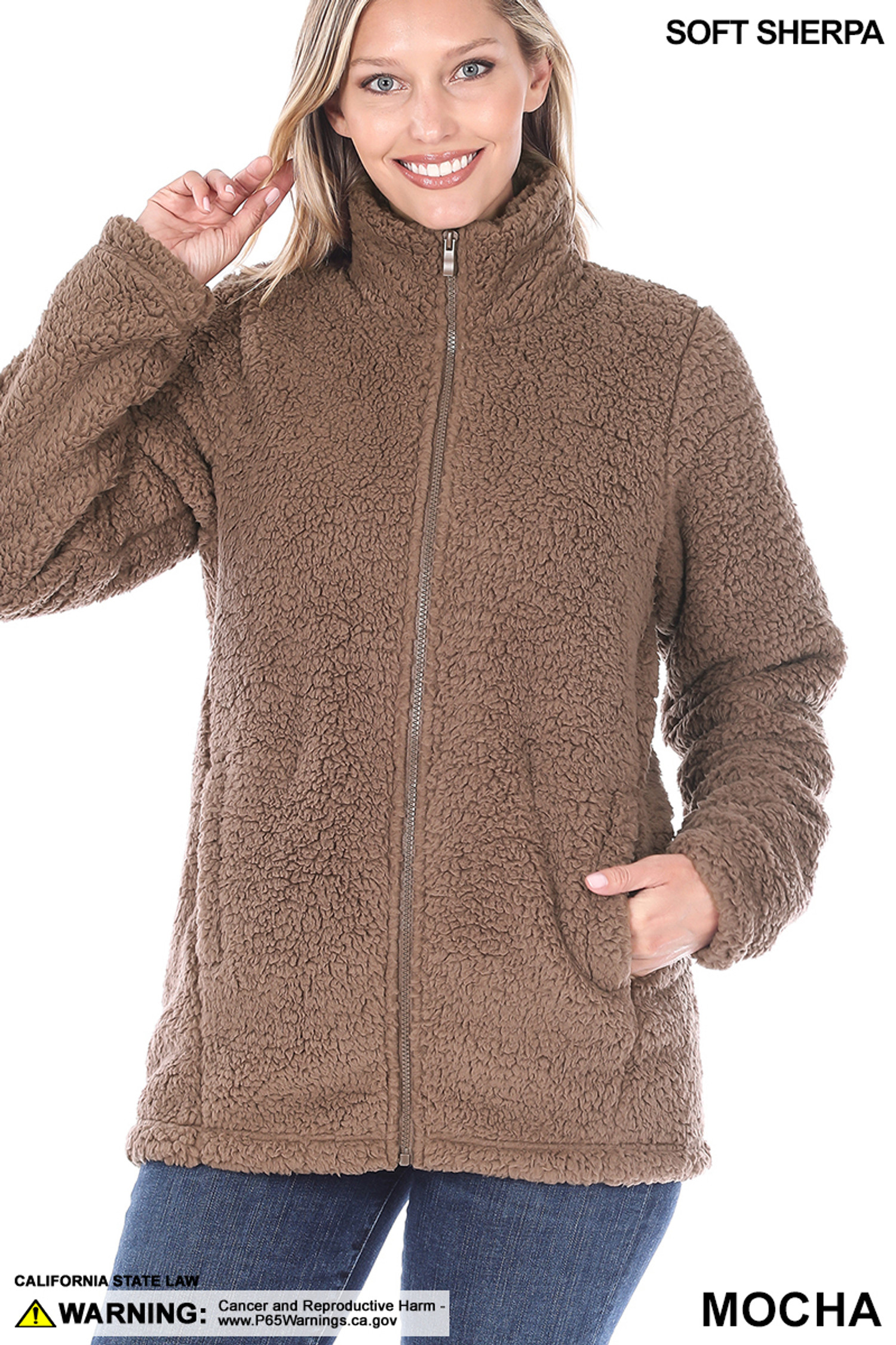 Front of Mocha Sherpa Zip Up Jacket with Side Pockets