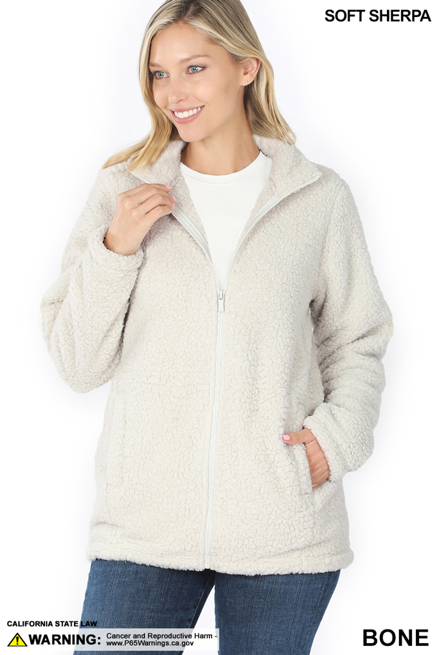 Front of Bone Sherpa Zip Up Jacket with Side Pockets
