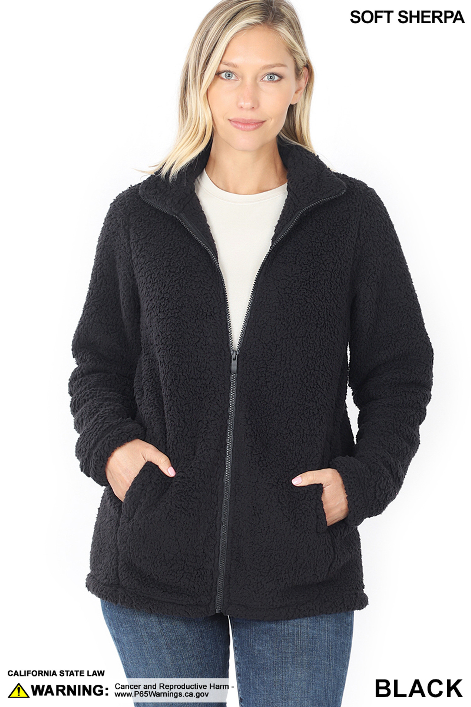 Front Partially Unzipped of Black Sherpa Zip Up Jacket with Side Pockets