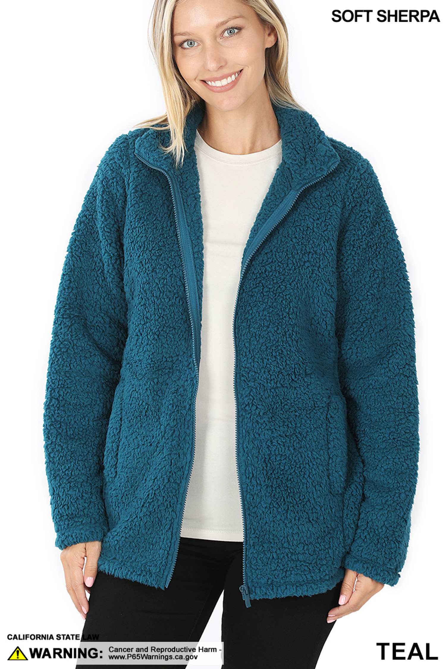 Front Unzipped image of Teal Sherpa Zip Up Jacket with Side Pockets