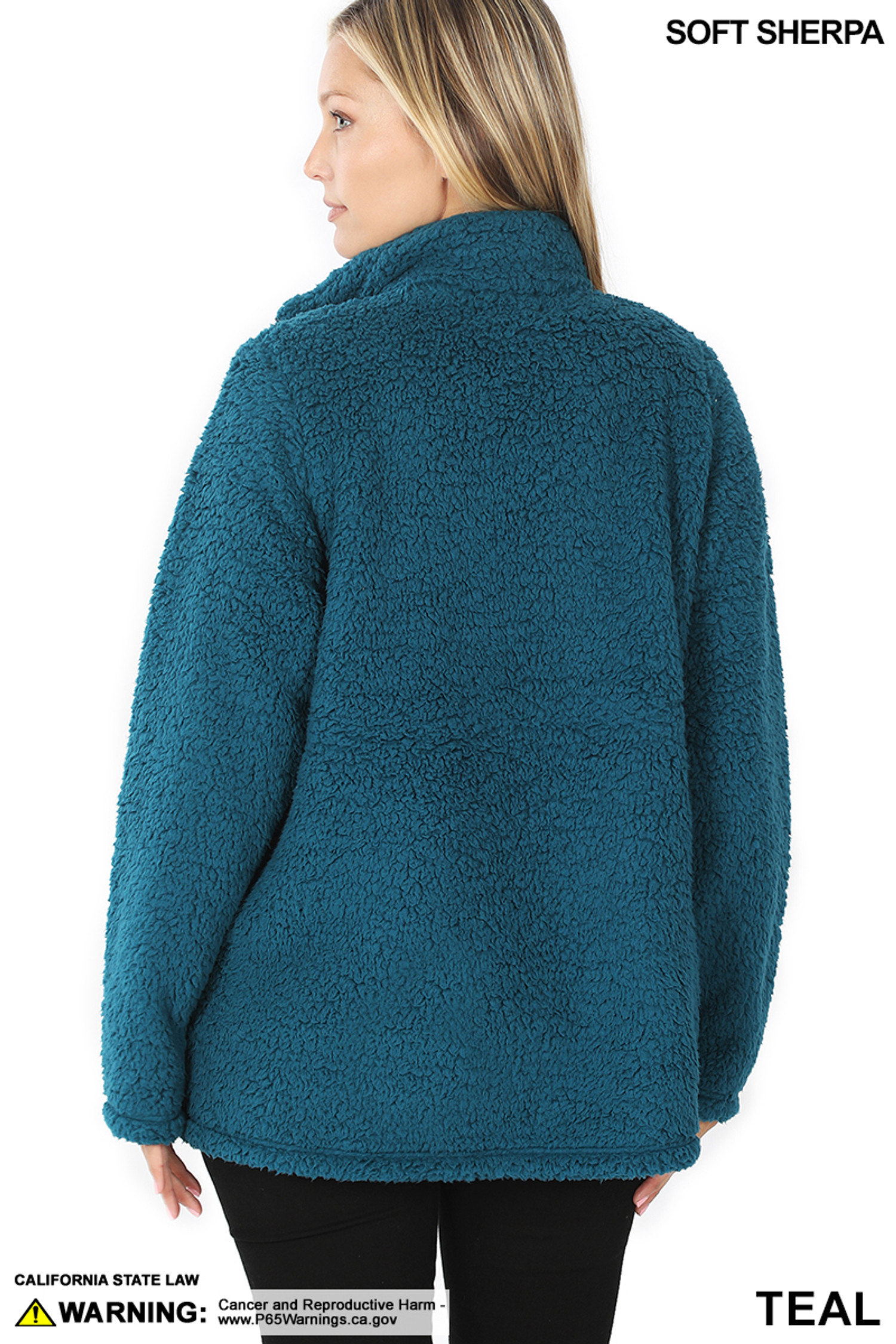 Back side image of Teal Sherpa Zip Up Jacket with Side Pockets